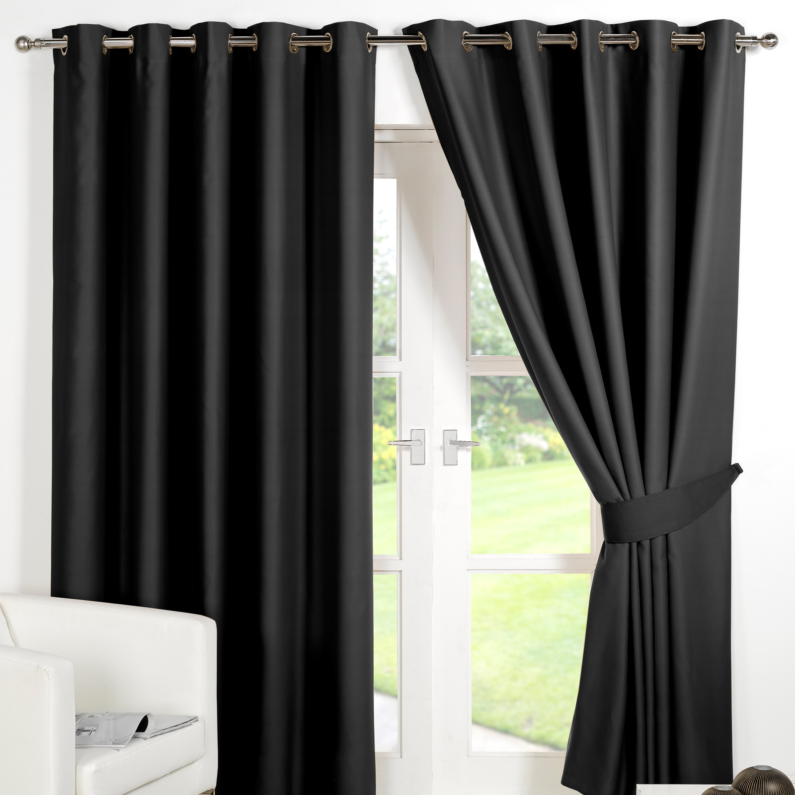 dreamscene eyelet blackout curtains pair of thermal ring. Black Bedroom Furniture Sets. Home Design Ideas