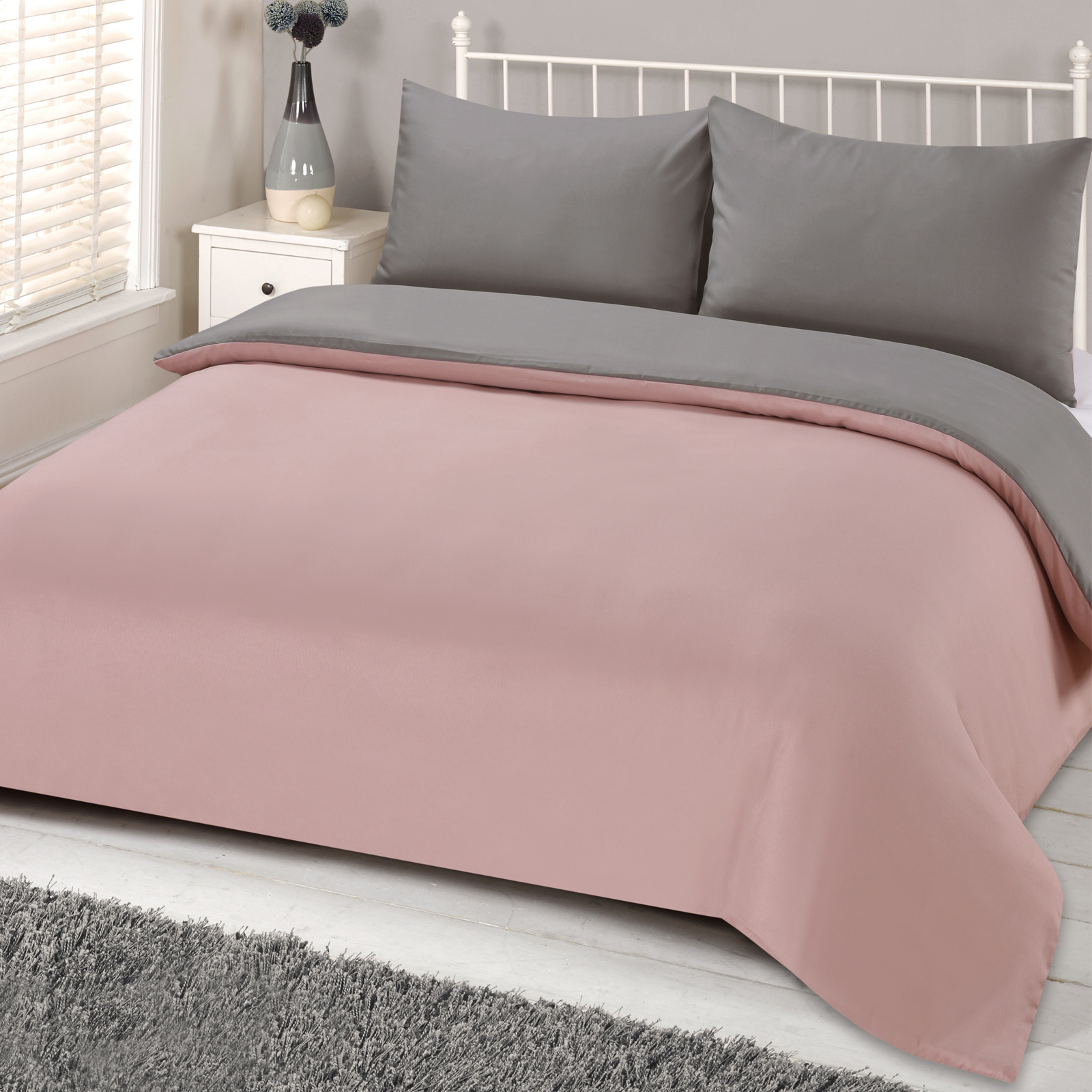 Brentfords Reversible Blush Grey Duvet Cover With Pillowcase Pink