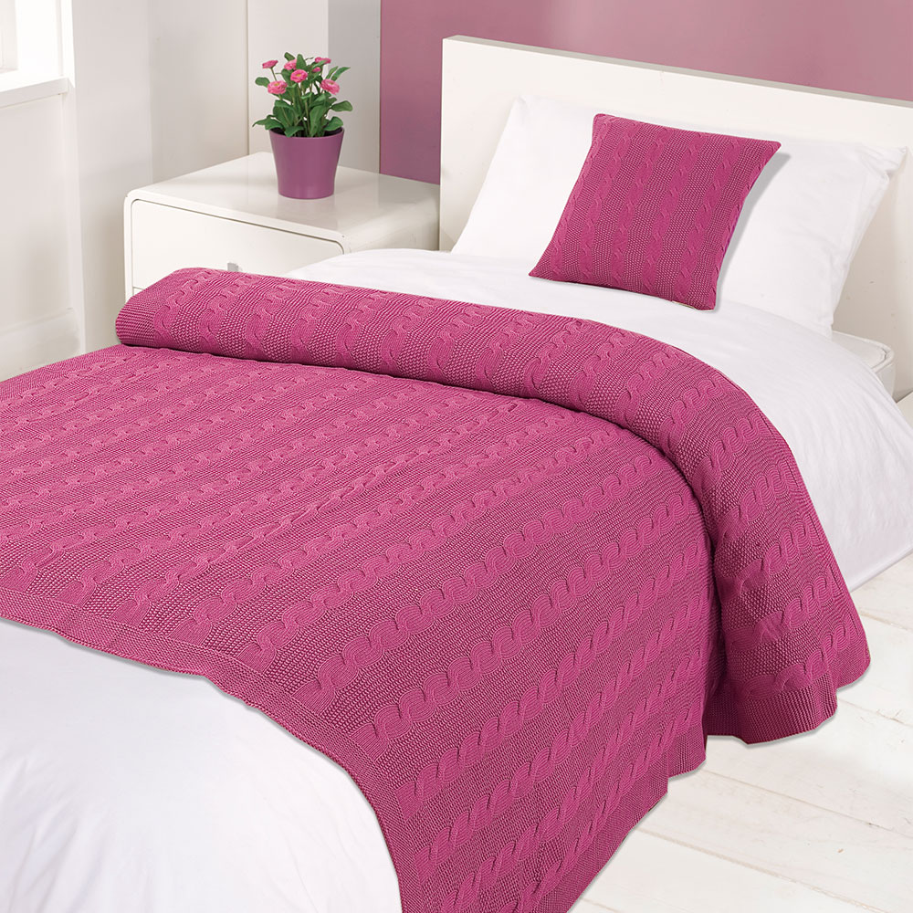 highams 100 cotton gewebt zopfmuster berwurf warm bett decke gelb ocker ebay. Black Bedroom Furniture Sets. Home Design Ideas