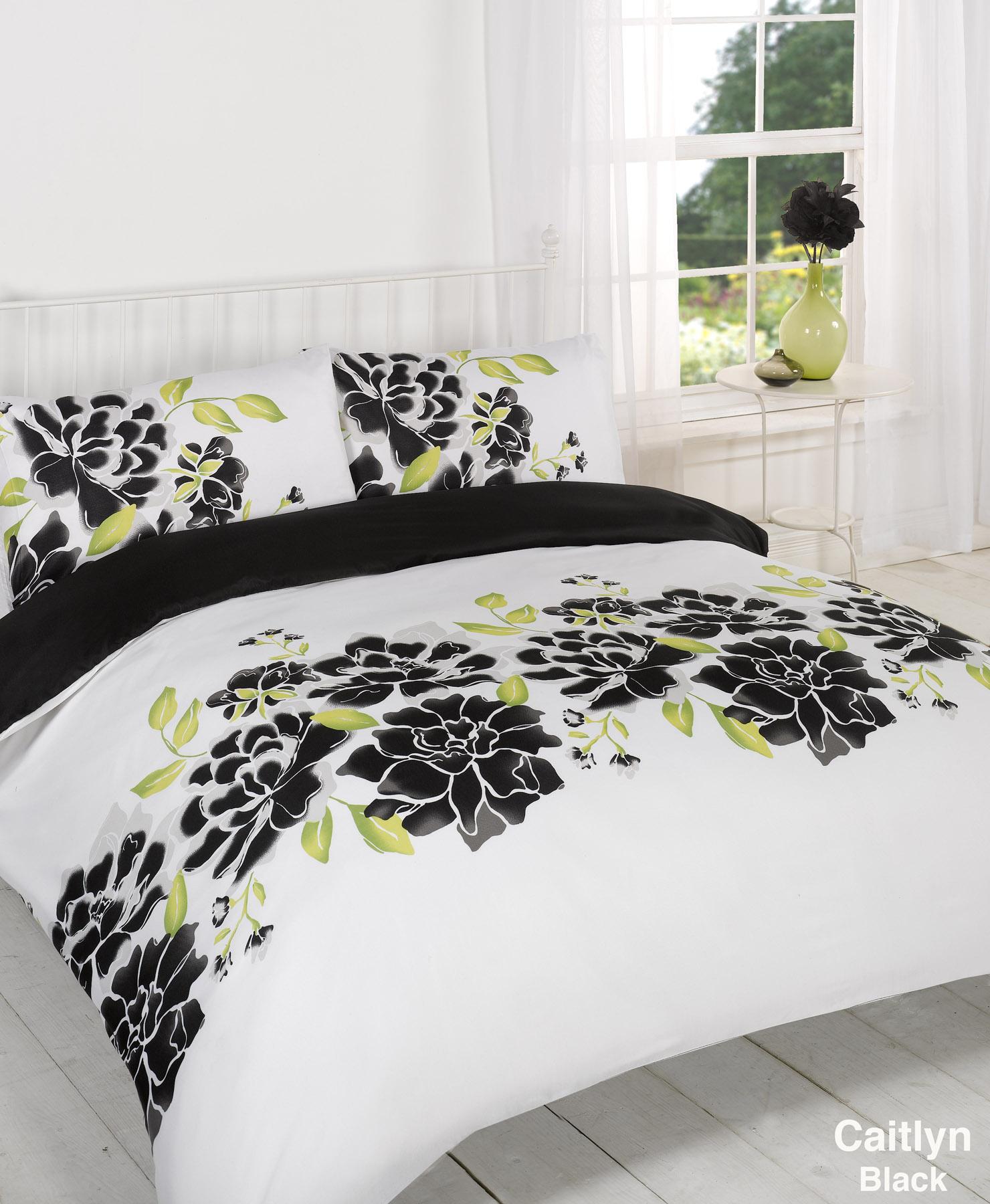 ensemble housse de couette dredon noir blanc lit simple. Black Bedroom Furniture Sets. Home Design Ideas