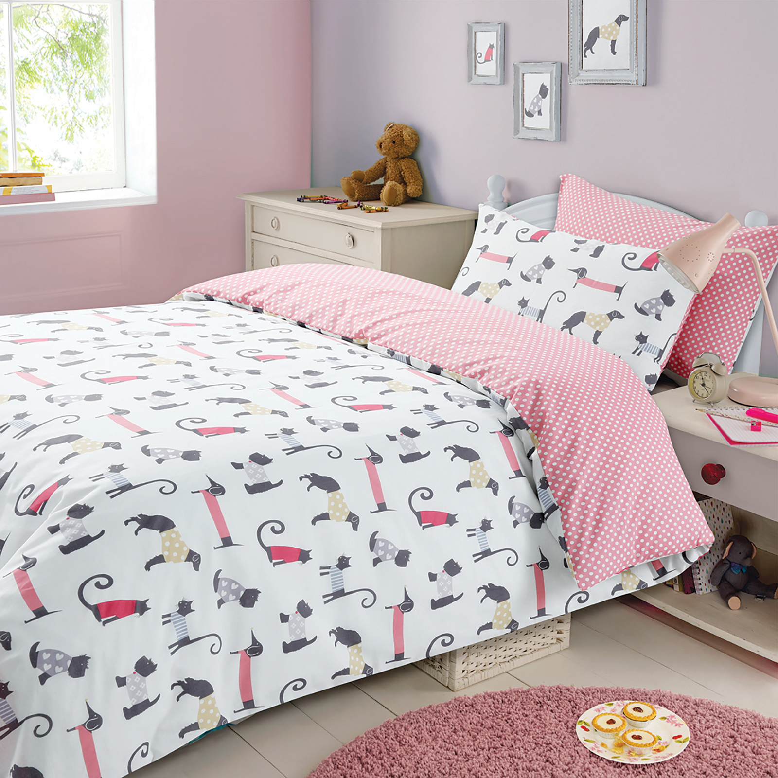 Good Childrens Duvet Cover With Pillowcase Bedding Set Cat U0026 Dog Animal Print  Spots