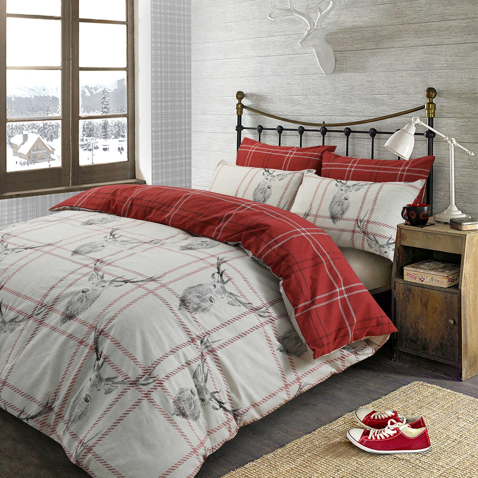 christmas quilt duvet cover with pillowcase bedding set xmas tree stag ski santa ebay. Black Bedroom Furniture Sets. Home Design Ideas