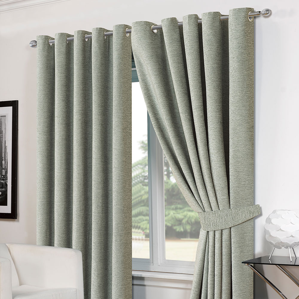 luxury ring top eyelet chenille lined thermal ready made. Black Bedroom Furniture Sets. Home Design Ideas