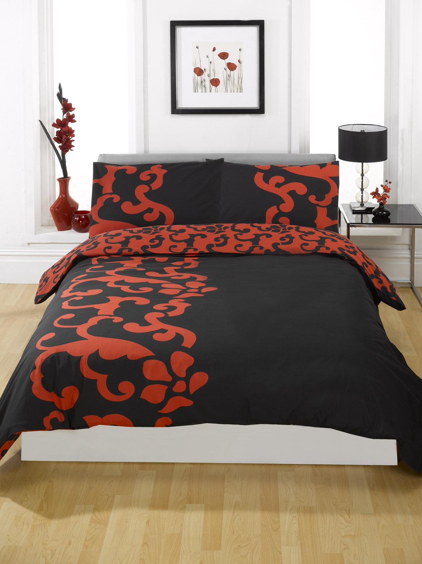 ensemble housse de couette dredon rouge lit simple double queen size ebay. Black Bedroom Furniture Sets. Home Design Ideas