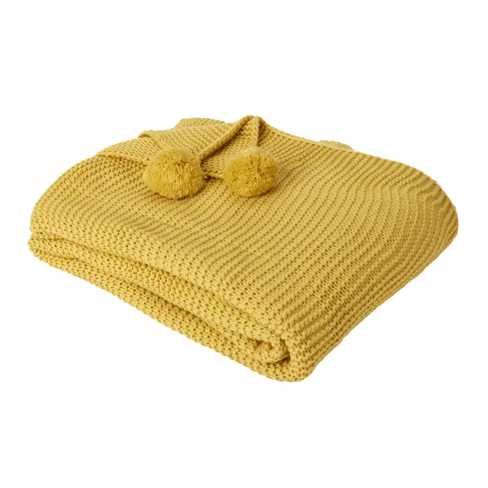Dreamscene Chunky Knit Throw Large Knitted Pom Pom Sofa