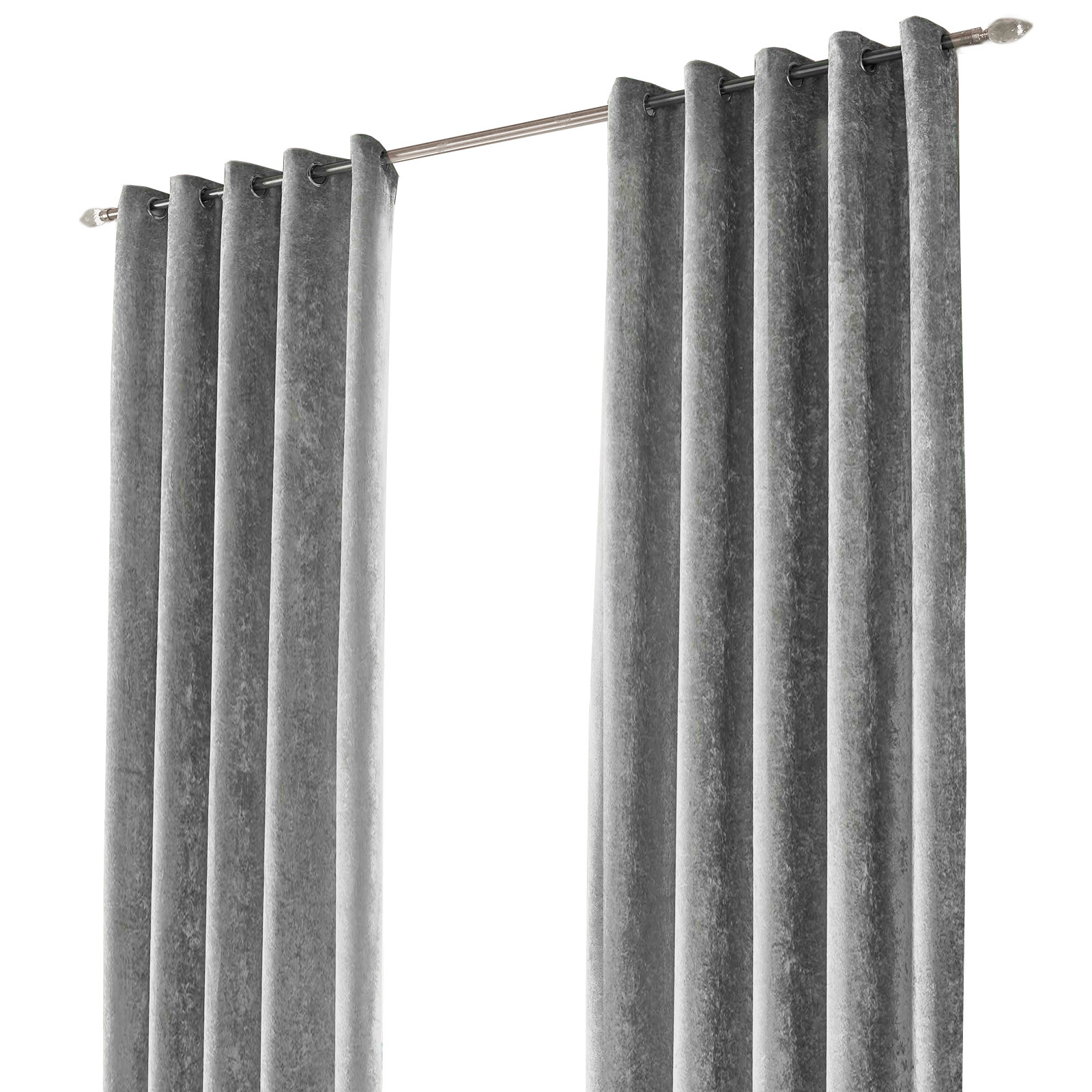 Design Velvet Curtains crush crushed velvet pair of fully lined ring top eyelet curtains silver grey