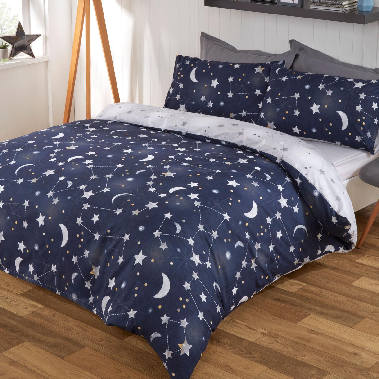 Bedding Sets Duvet Covers Dreamscene Moon Stars Galaxy Duvet Cover With Pillowcase Bedding Set Navy Grey Home Furniture Diy Tallergrafico Com Uy