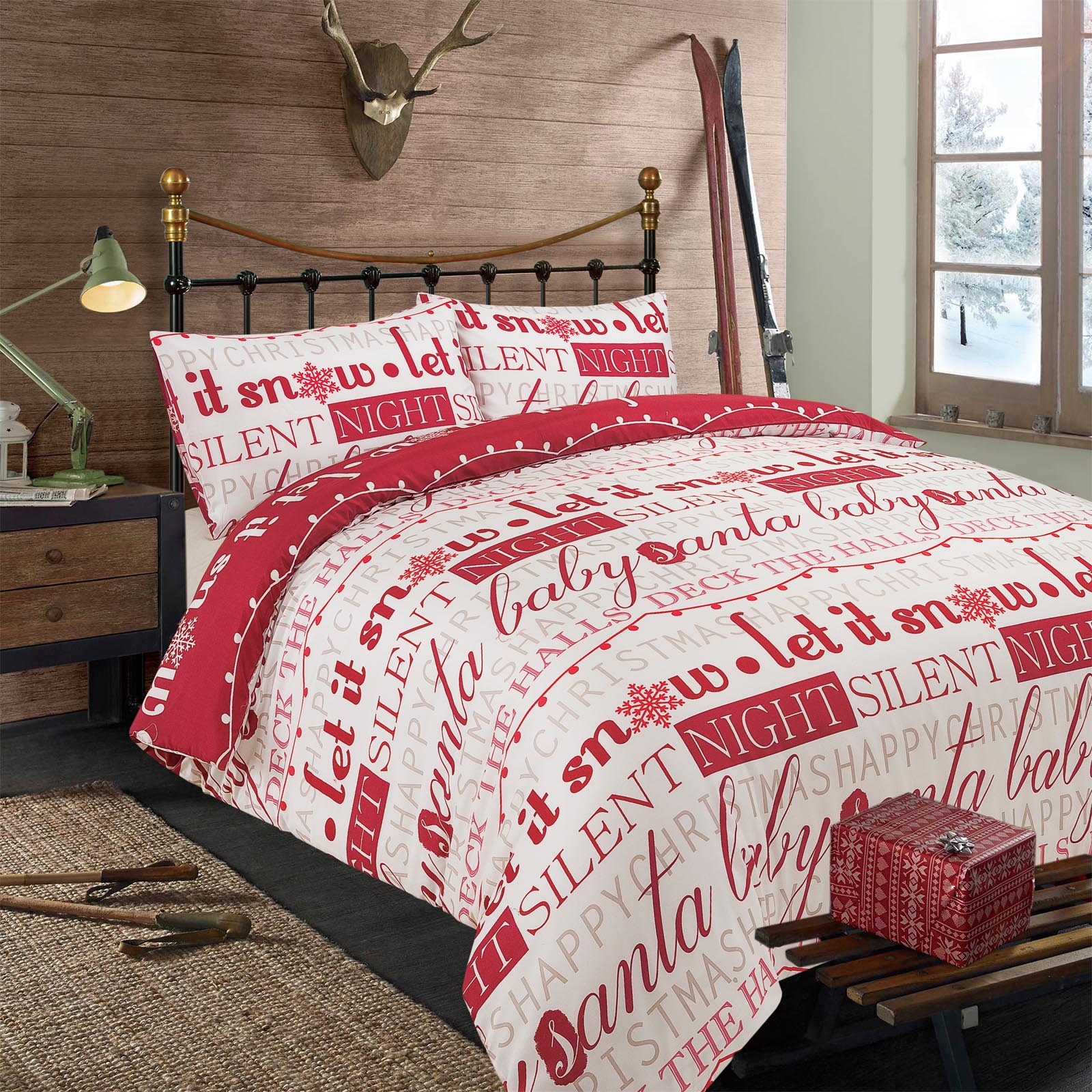 Christmas Bedding.Details About Dreamscene Let It Snow Duvet Cover With Pillow Case Christmas Bedding Set Red