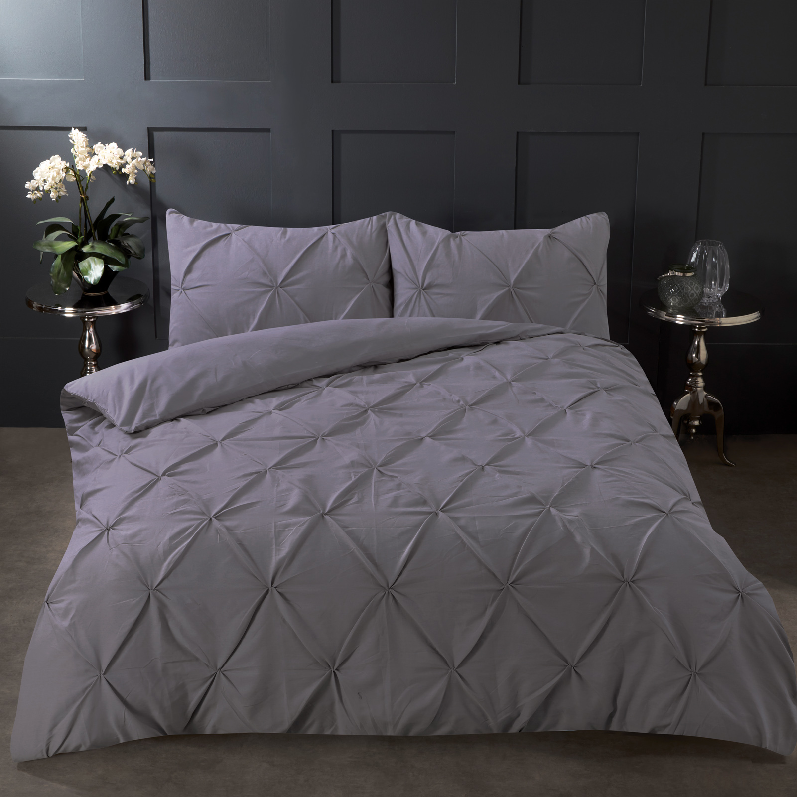 Highams-Pintuck-Pleated-Duvet-Cover-with-Pillowcase-Bedding-Set-Charcoal-White thumbnail 15