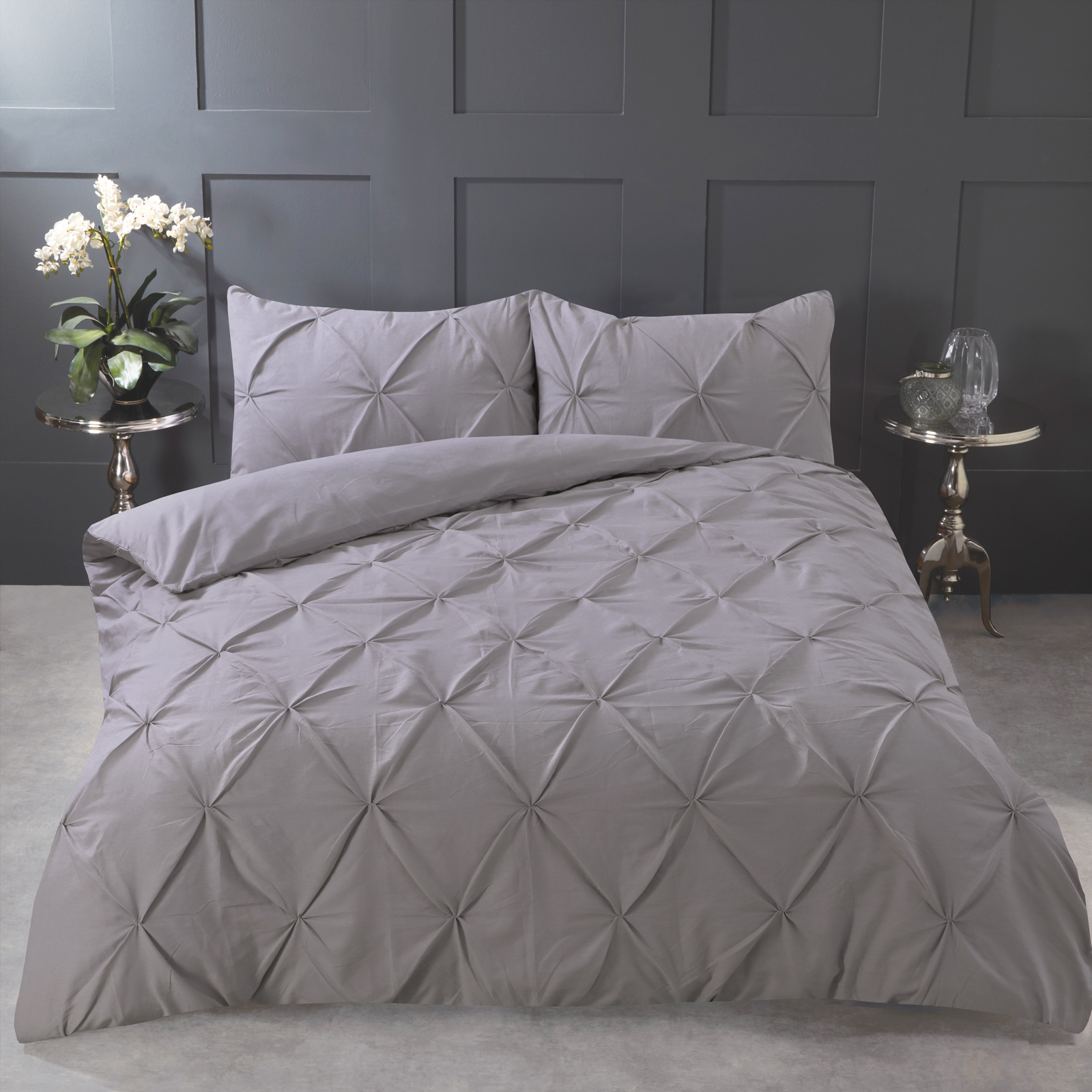Highams-Pintuck-Pleated-Duvet-Cover-with-Pillowcase-Bedding-Set-Charcoal-White thumbnail 16