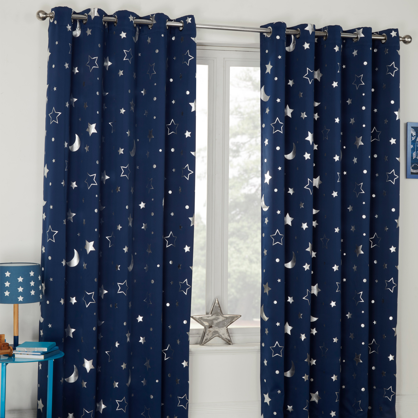 Dreamscene-Star-Thermal-Blackout-Curtains-PAIR-Eyelet-Ready-Made-Kids-From-13-75