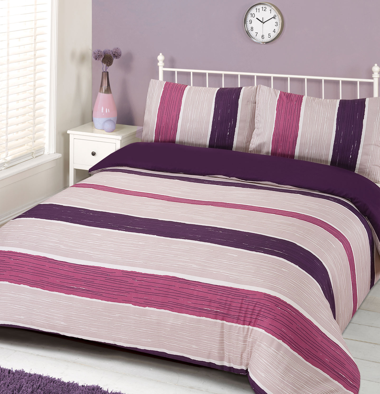pink striped bedroom duvet cover with pillowcase bedding set drift stripe blue 12883
