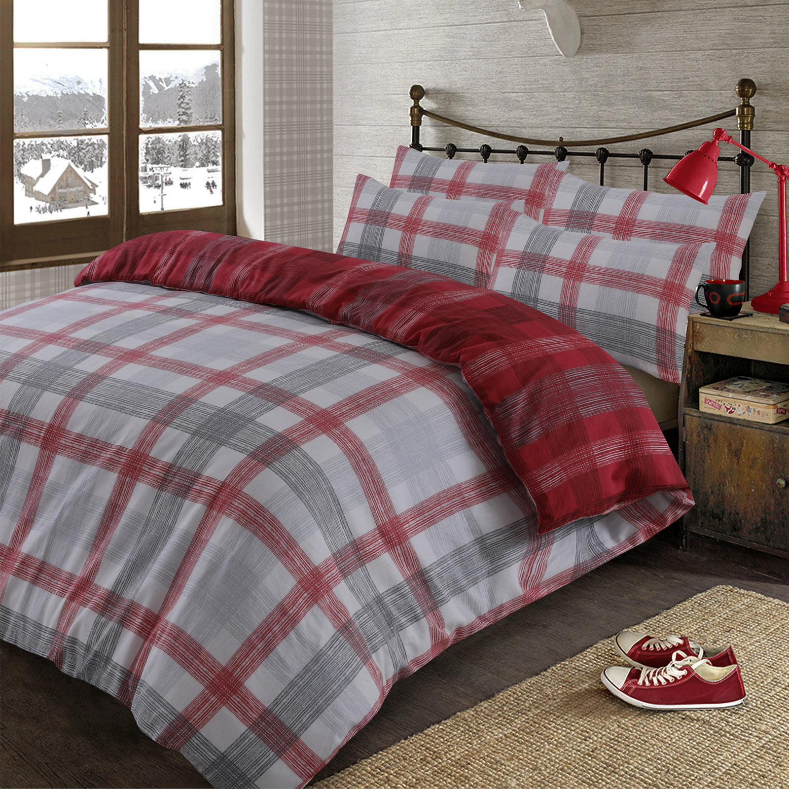 Dreamscene-Boston-Brushed-Cotton-Duvet-Cover-Pillowcase-Flannelette-Bedding-Set