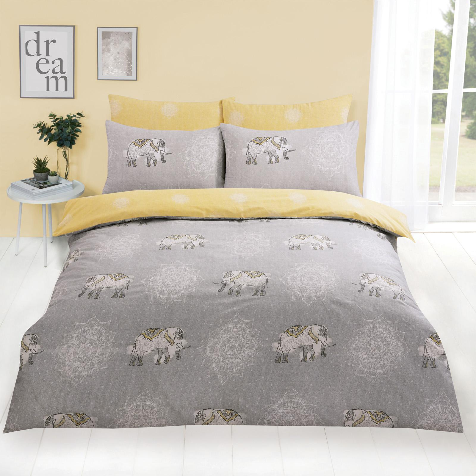 Details Zu Dreamscene Elefant Mandala Bett Bezug Mit Kissenbezug Bettwäsche Set Grau Ocker