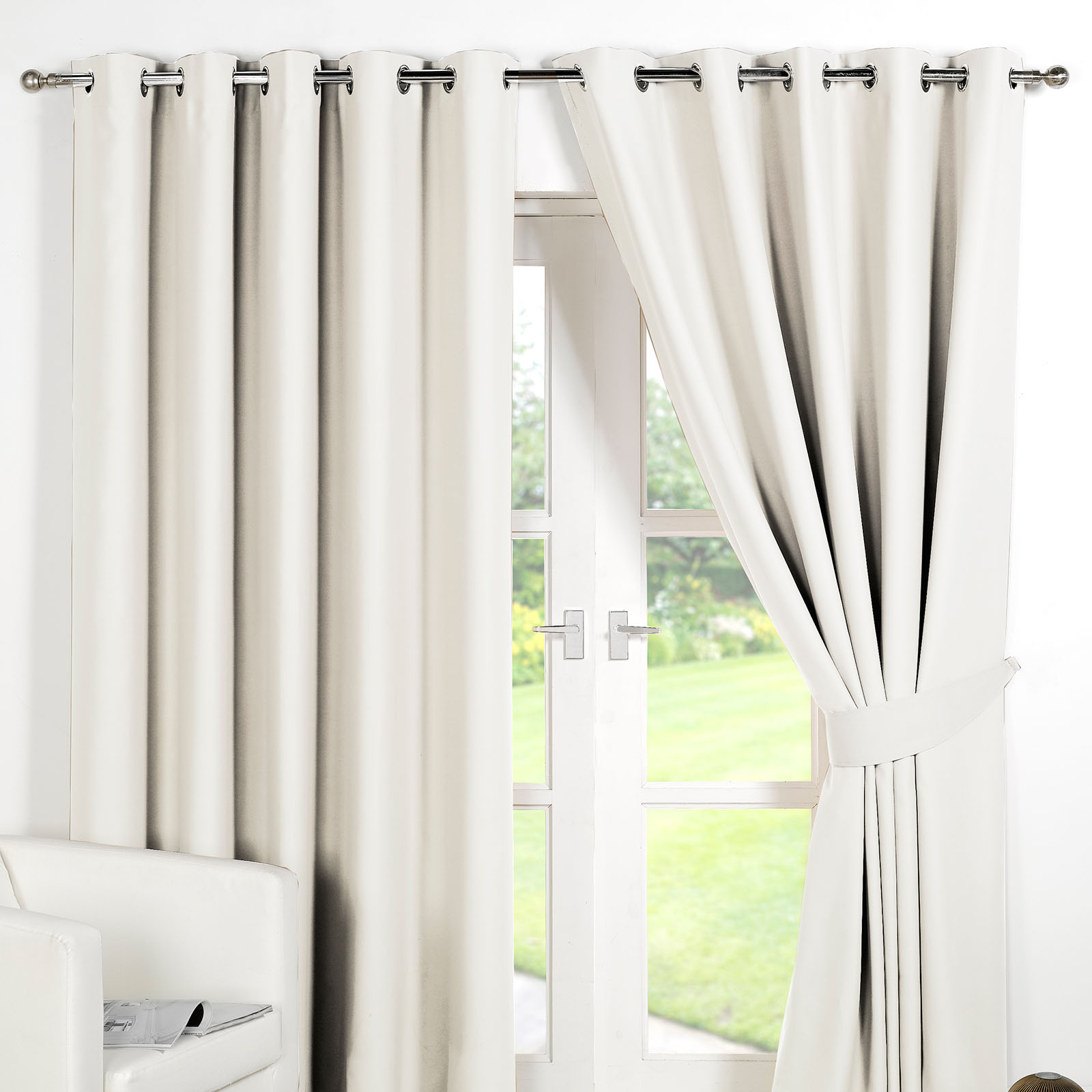 Ring Top Fully Lined Pair Eyelet Ready Made Curtains Luxury Thermal ...