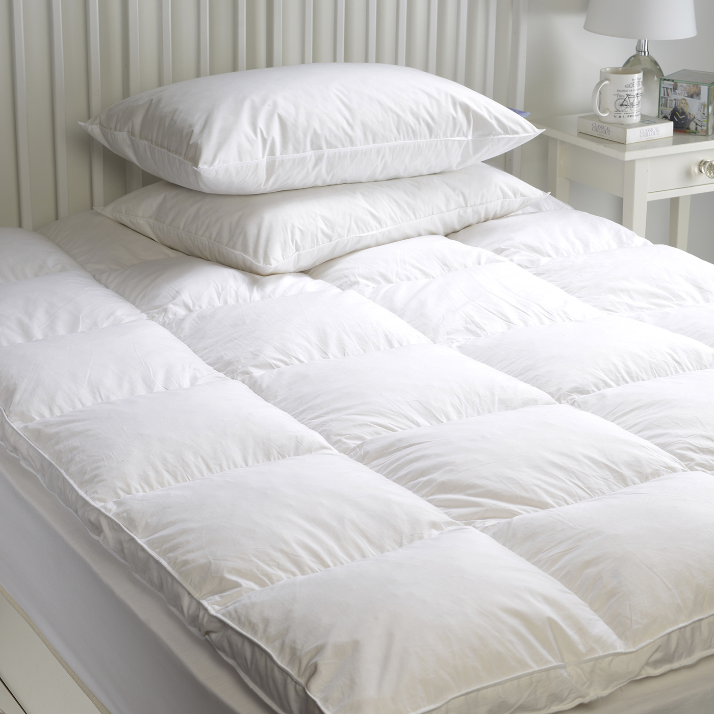 Goose Feather & Down Mattress Topper Enhancer Cover