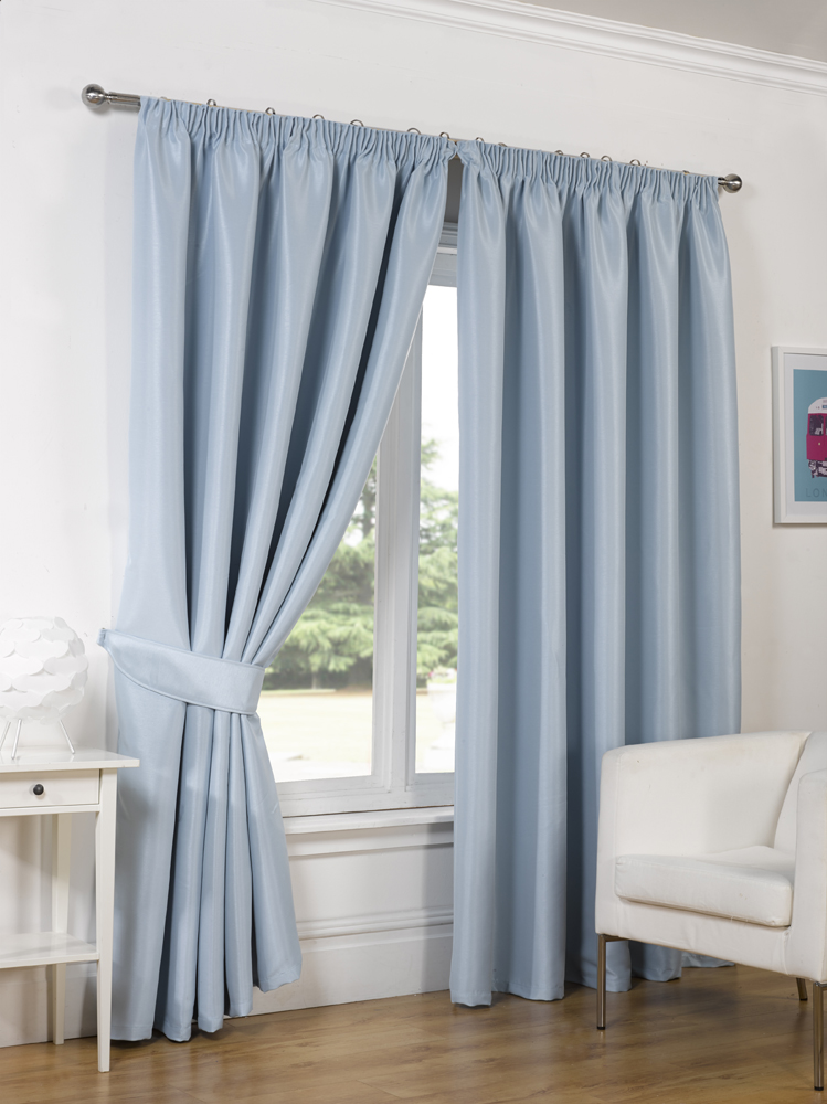 pair of faux silk pencil pleat blackout curtains ready. Black Bedroom Furniture Sets. Home Design Ideas