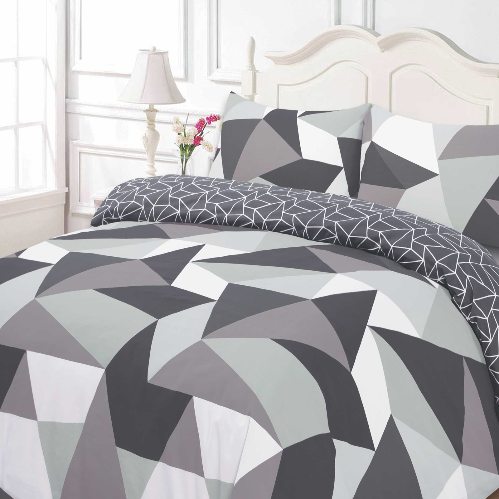 dreamscene geometrisch formen bett bezug mit kissenbezug. Black Bedroom Furniture Sets. Home Design Ideas