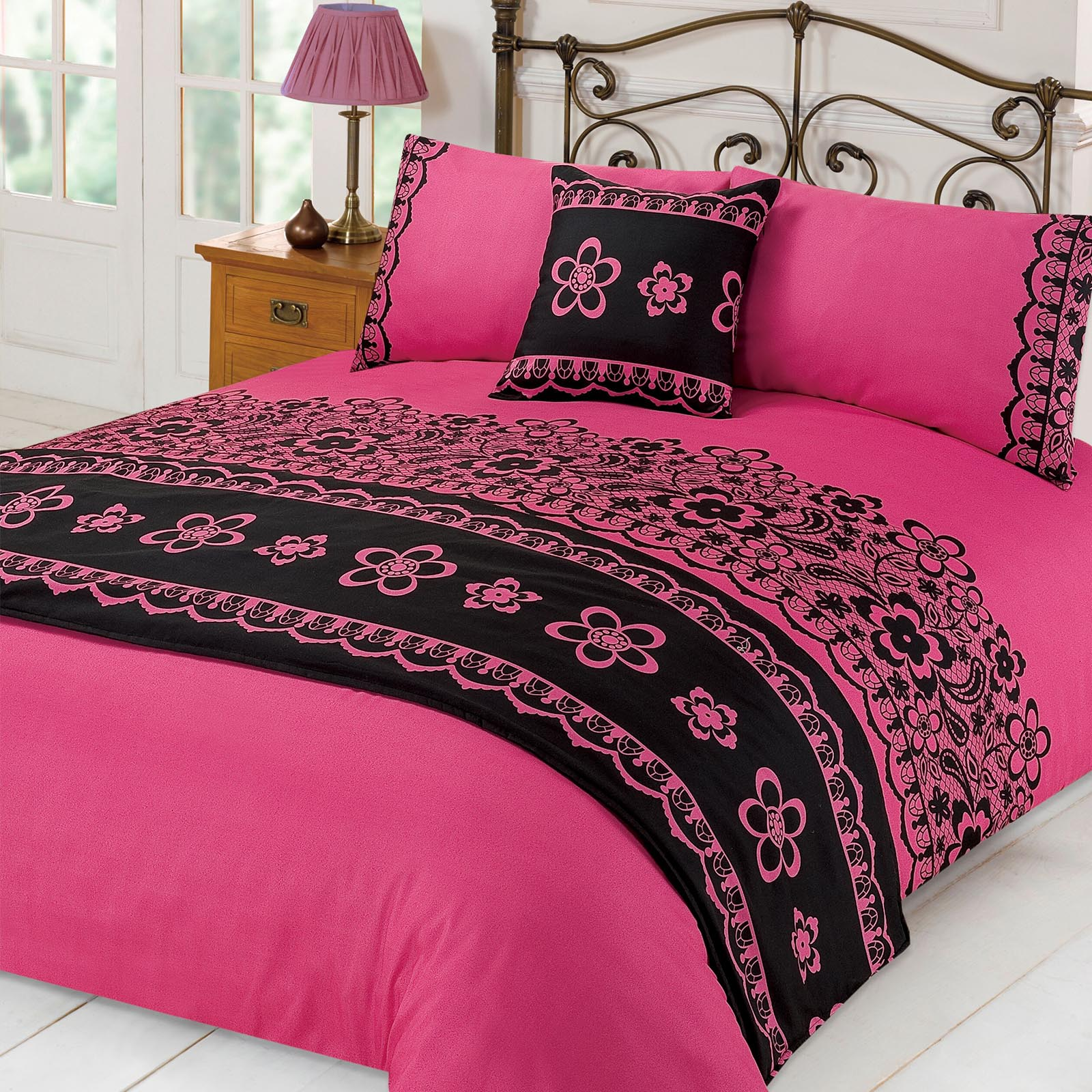 Lace Duvet Cover With Pillowcases Runner Bed In A Bag Set