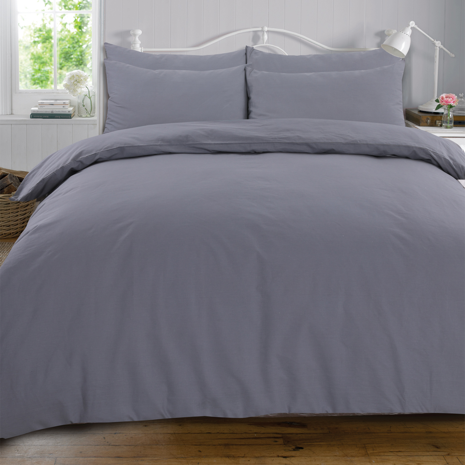 Highams-100-Cotton-COMPLETE-Duvet-Cover-and-Pillowcase-Fitted-Sheet-Bedding-Set