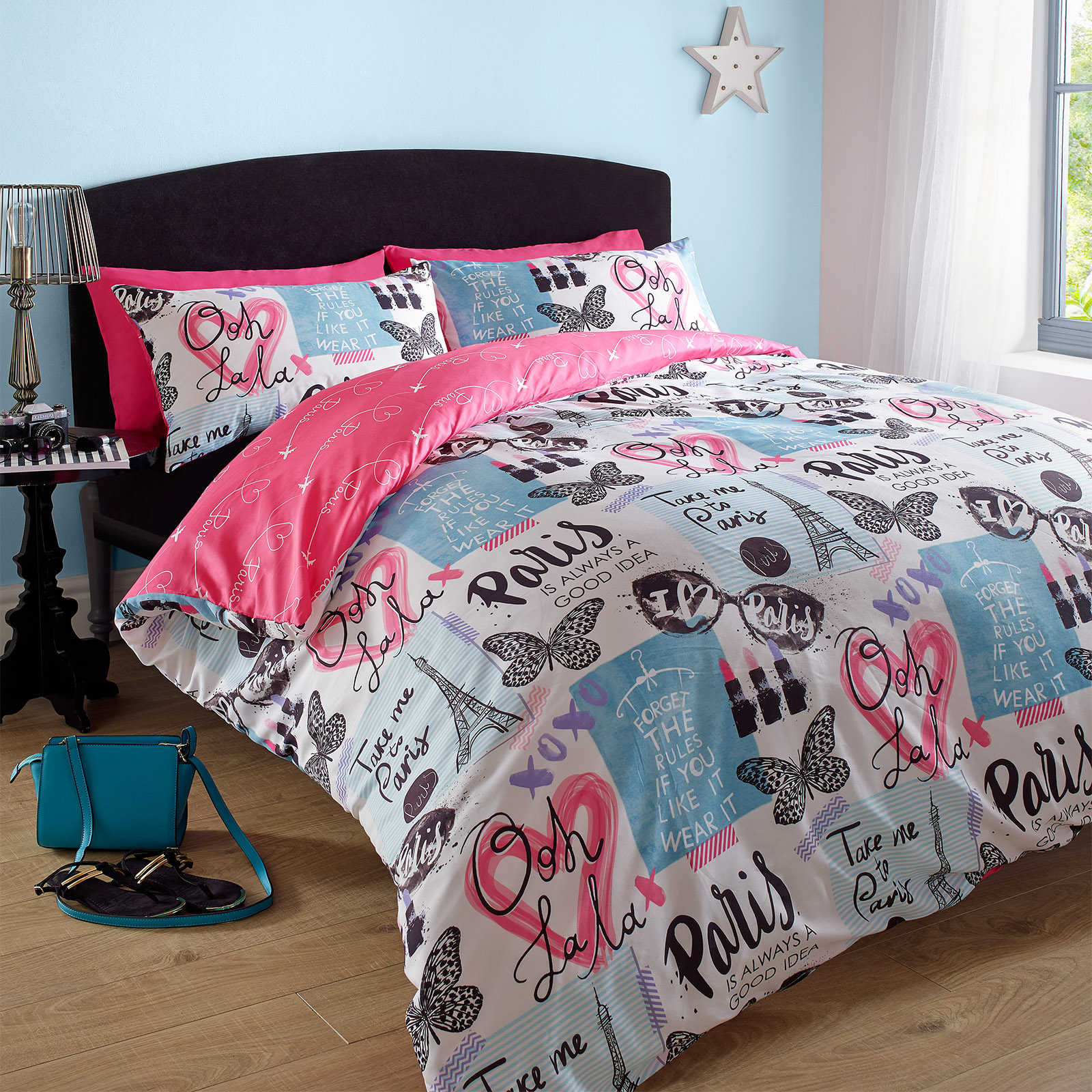 Duvet Cover With Pillowcase Paris Eiffel Tower Pink Blue