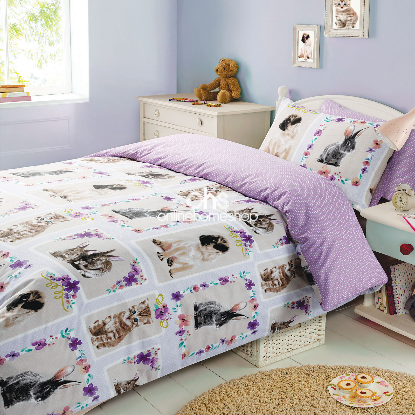 duvet cover with pillowcase bedding set pet love kitten bunny rabbit pug lilac - Liliac Bedding