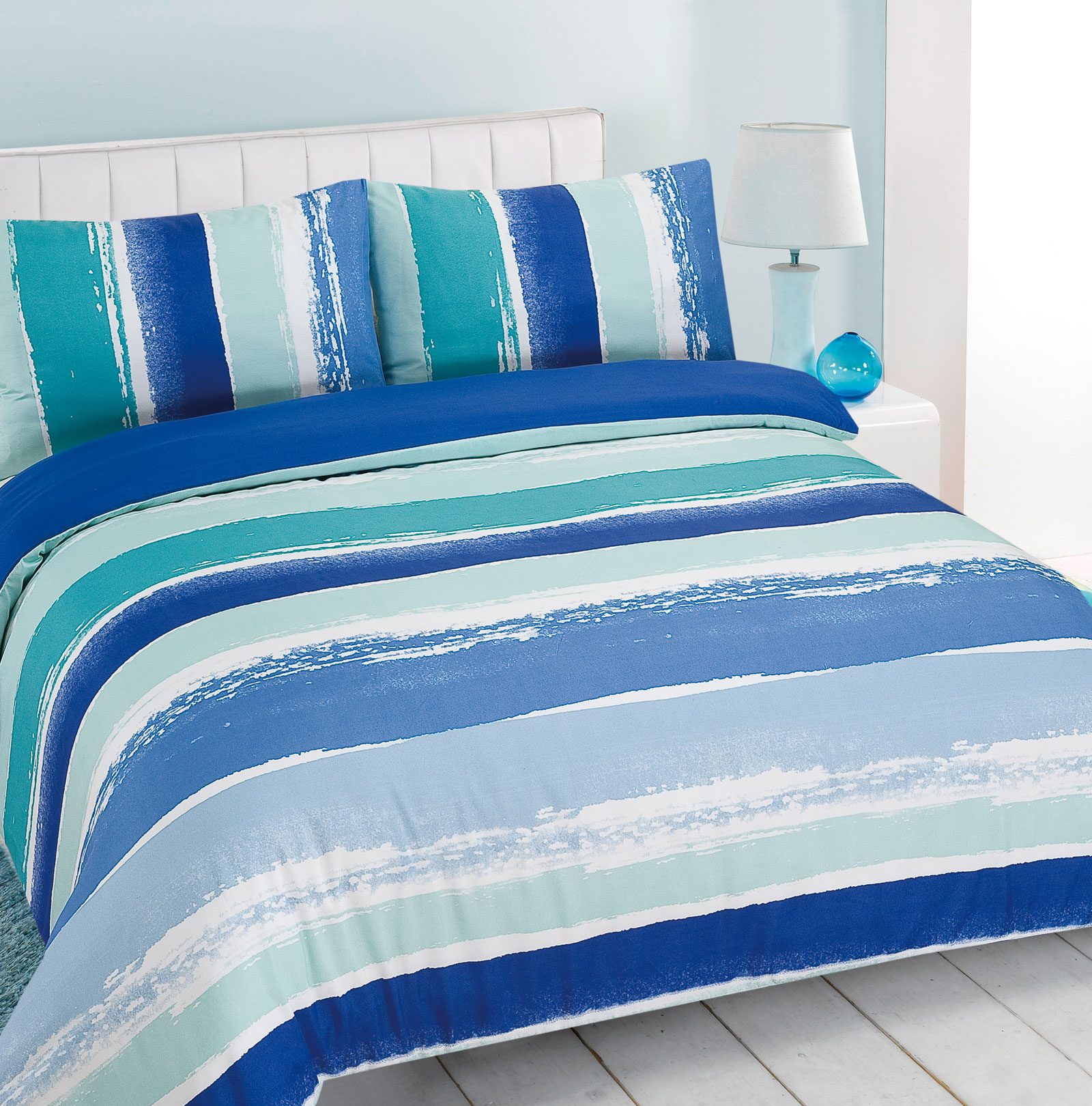 Duvet Cover With Pillowcase Portobello Stripe Blue Green