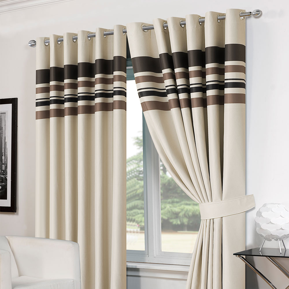 Striped ring top lined pair eyelet ready made thermal blackout curtains tiebacks