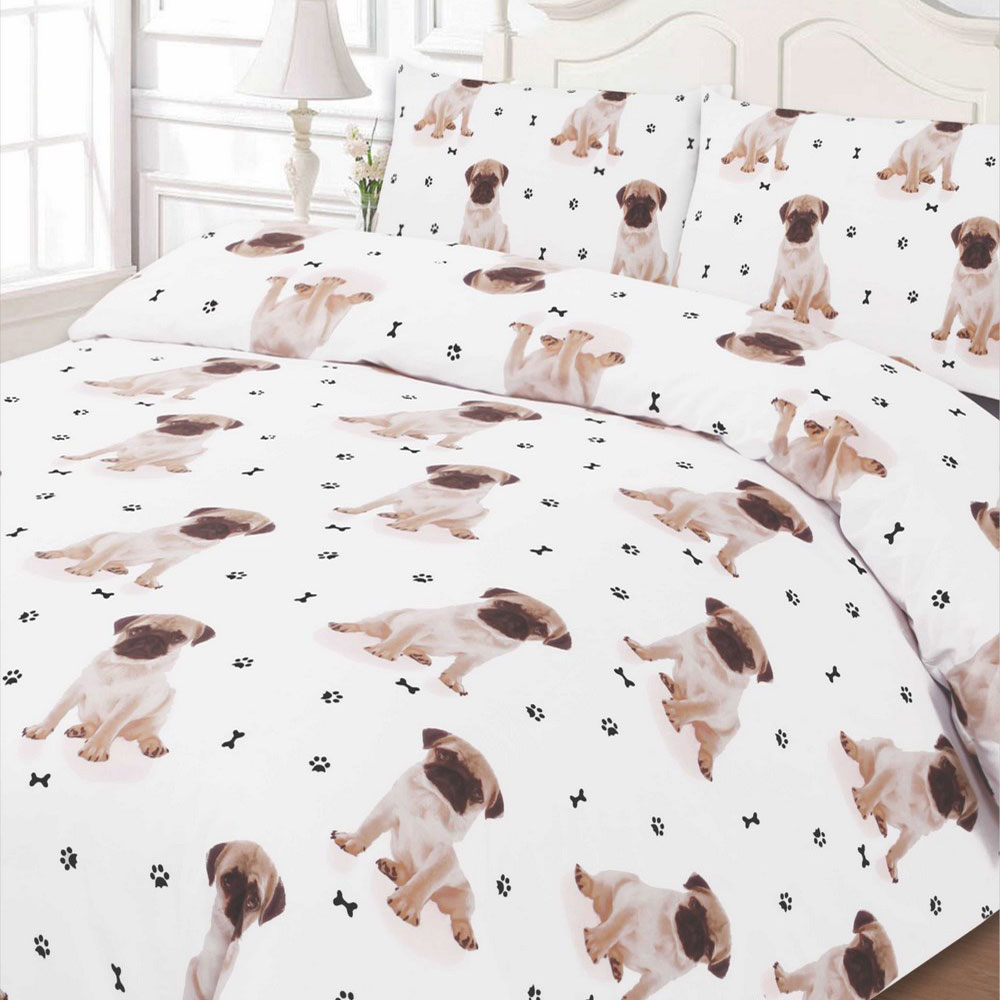 Pug Duvet Cover With Pillow Case Bedding Set Double Size