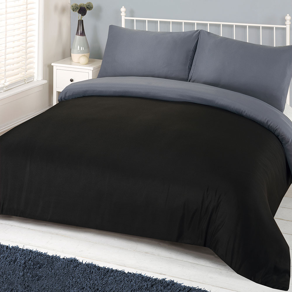 Brentfords Plain Black Duvet Cover With Pillowcase Reversible Grey