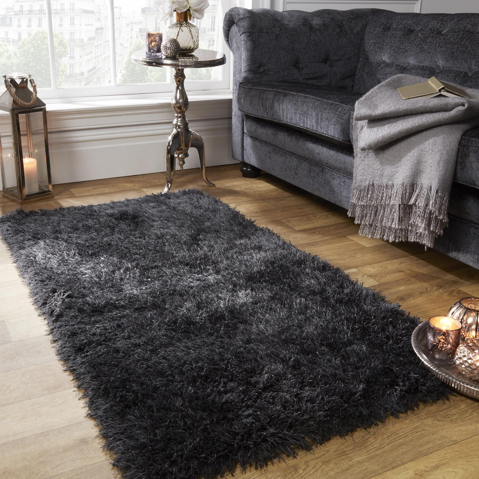 Sienna Large Shaggy Floor Rug Plain Soft Sparkle Mat 5cm