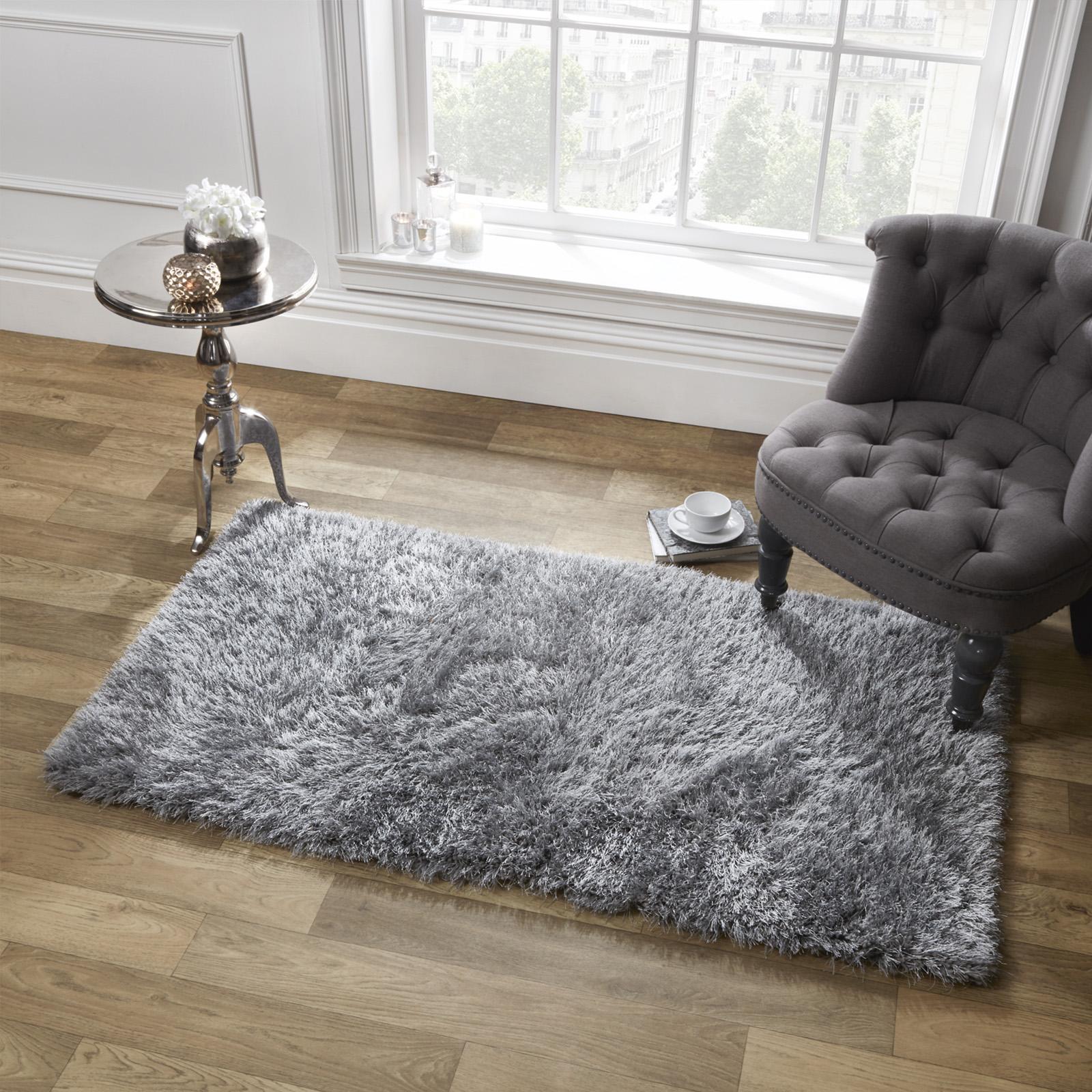 sienna gro shaggy bodenteppich uni weich funkeln bereich mat 5cm dicker flor ebay. Black Bedroom Furniture Sets. Home Design Ideas