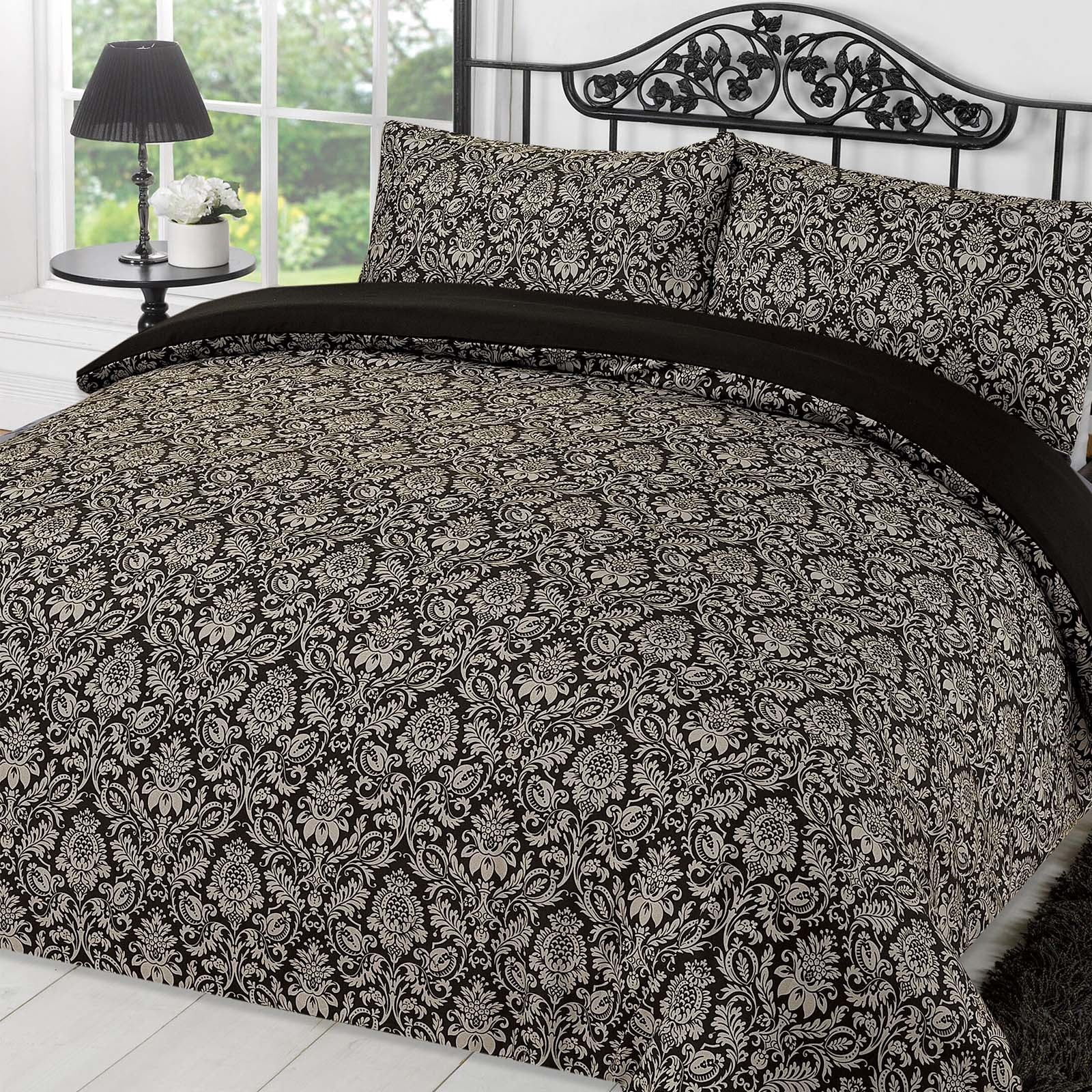 Dreamscene Damask Duvet Cover with Pillowcase Bedding Set Sanctuary