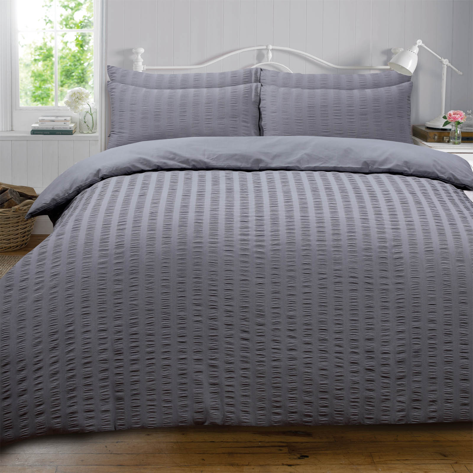 Highams-Seersucker-Duvet-Cover-with-Pillowcase-Bedding-Set-Silver-White-Charcoal