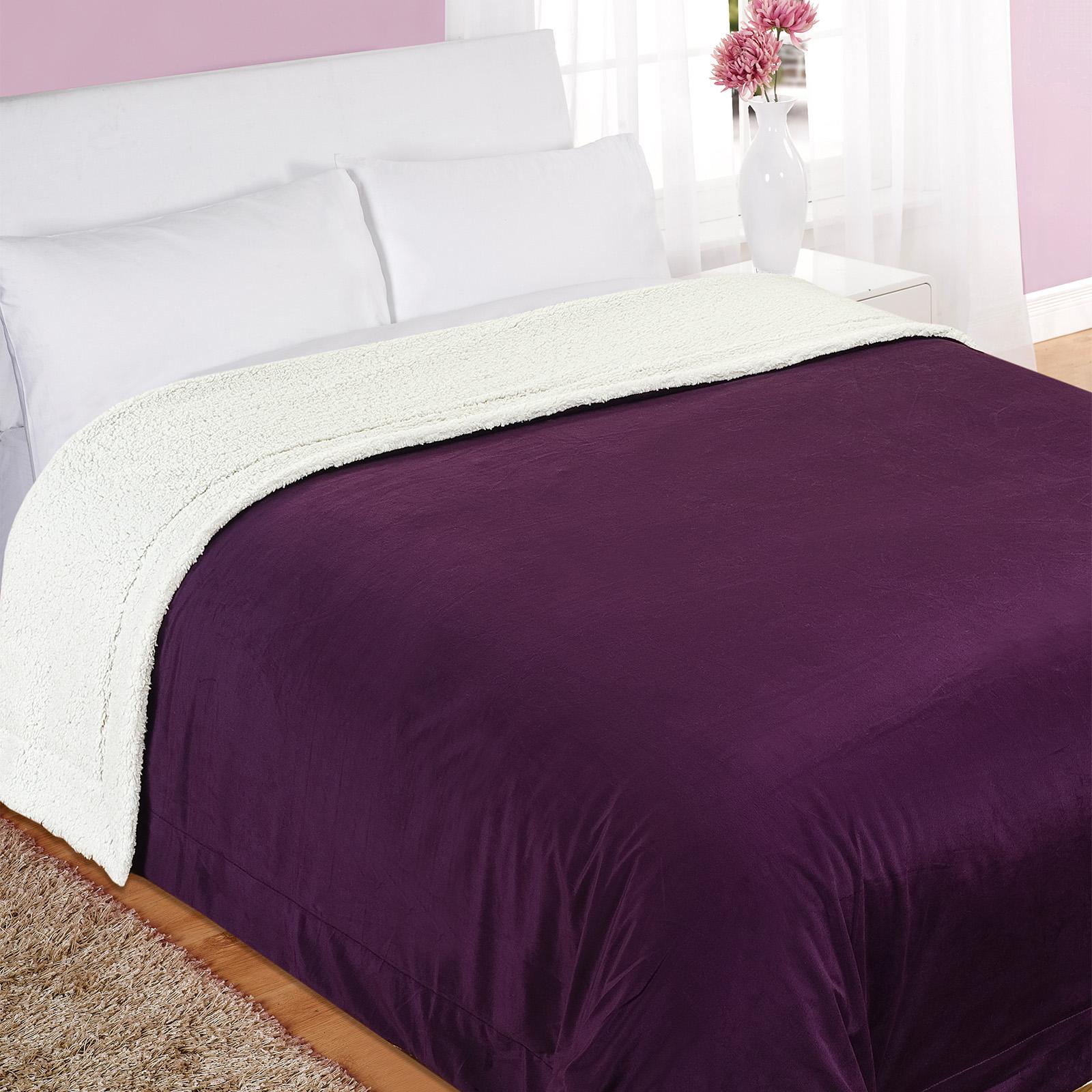 dreamscene luxury large snuggle soft teddy sherpa throw over blanket king size. Black Bedroom Furniture Sets. Home Design Ideas