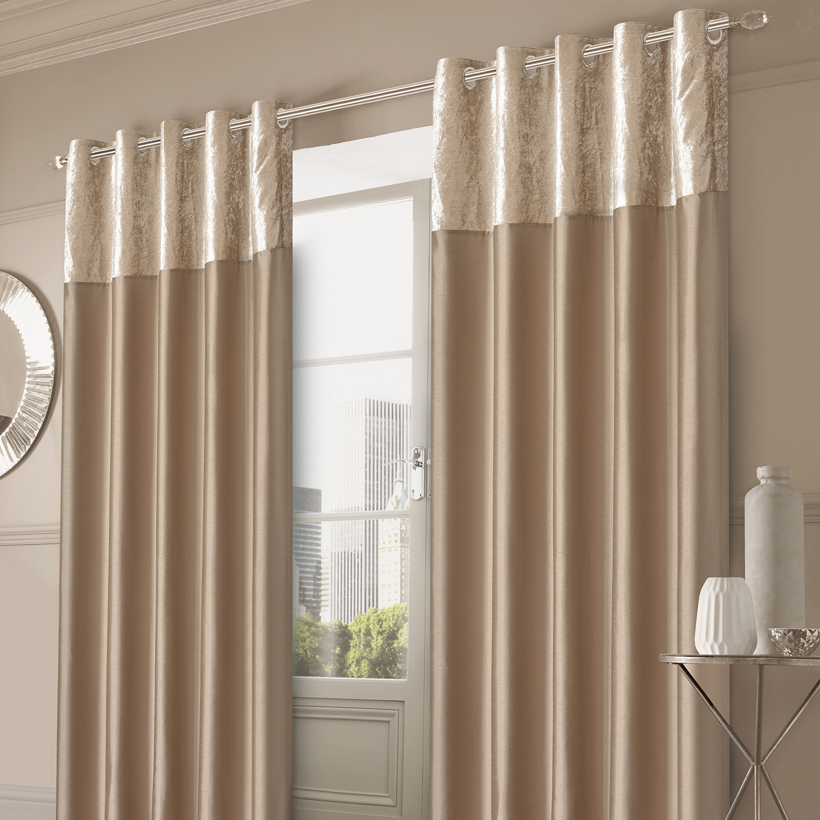 Sienna Crushed Velvet Band Curtains Pair Eyelet Faux Silk