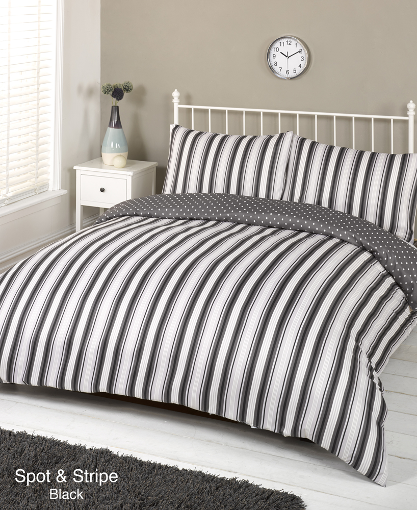 HOME Sticks Black and White Bedding Set - Double. Rating out of 5 (67) Duvet cover sets are an easy way to freshen up your bedroom without breaking the bank. Look for designs that coordinate with the rest of your room, or go for a contrasting pop of colour.