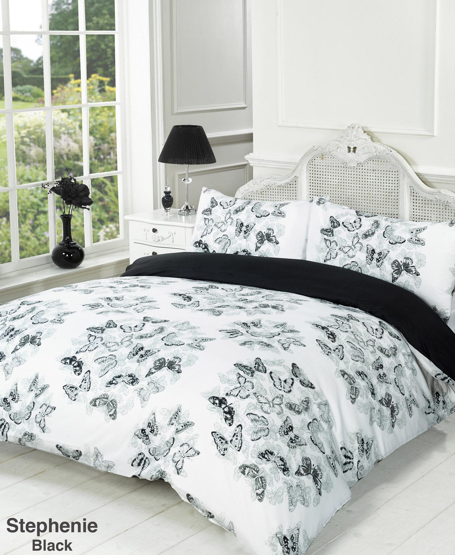 Duvet Quilt Cover Bedding Set Black White Single Double King ... : super single quilt cover size - Adamdwight.com