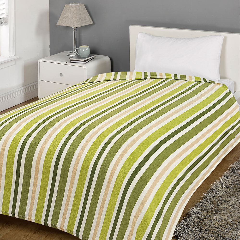 Warm Soft Bedding Throw Over Dot Stripe Bed Cover Couch