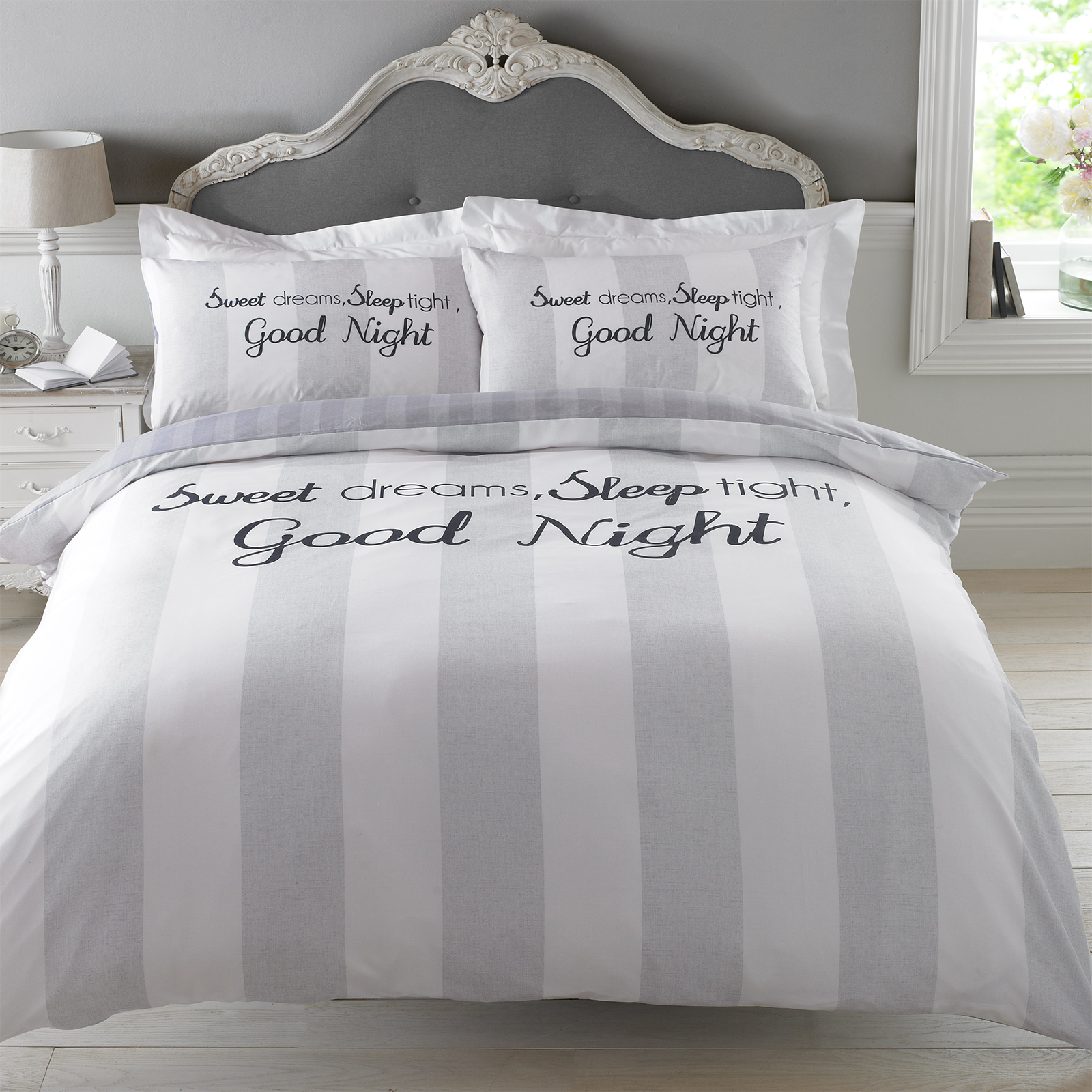 Dreamscene Sweet Dreams Duvet Cover With Pillowcase Stripe