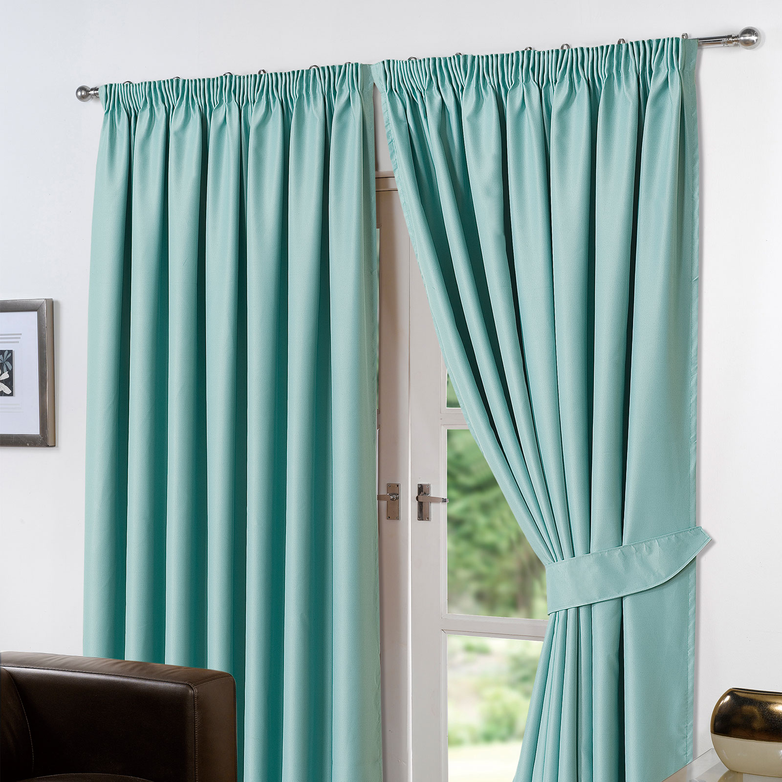 Dreamscene Thermal Pencil Pleat PAIR of Blackout Curtains & Tiebacks ...