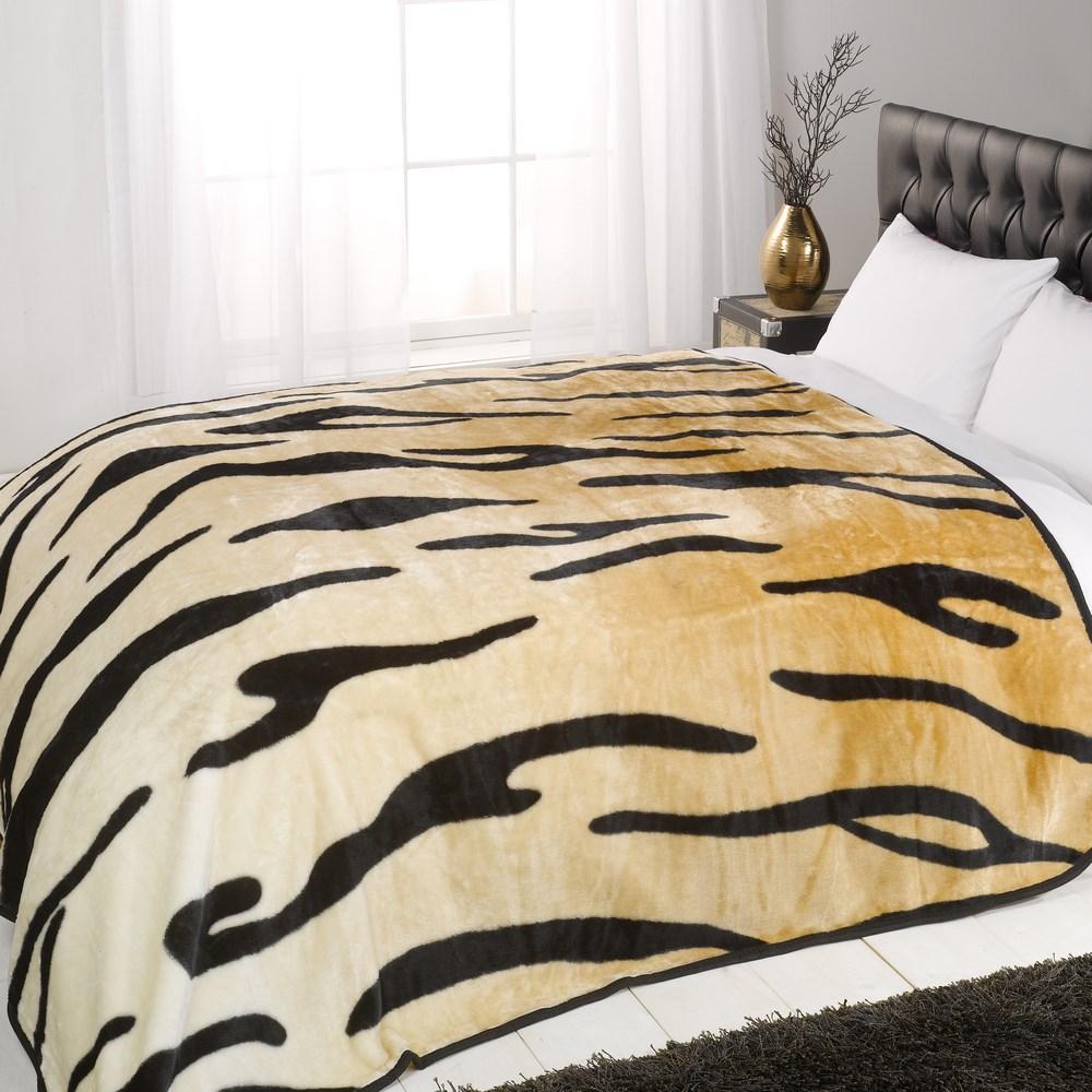 animal print mink faux fur throw fleece blanket snow tiger multiple