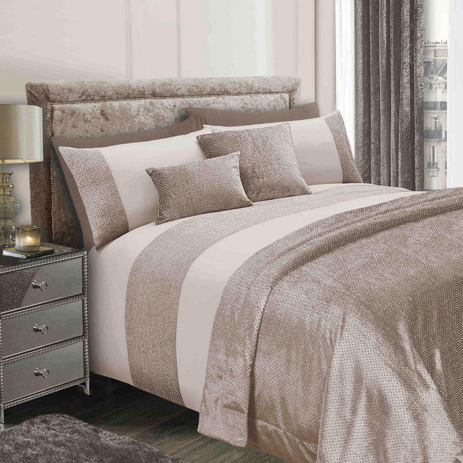 sienna glitter velvet duvet cover with pillowcase bedding. Black Bedroom Furniture Sets. Home Design Ideas