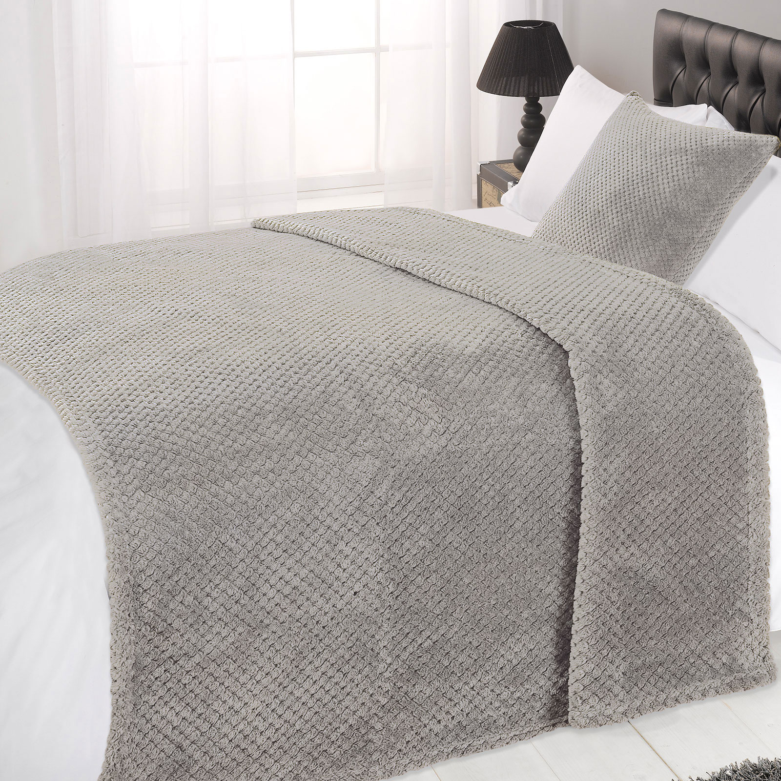 Dreamscene Luxury Waffle Honey b Mink Warm Throw Over Bed