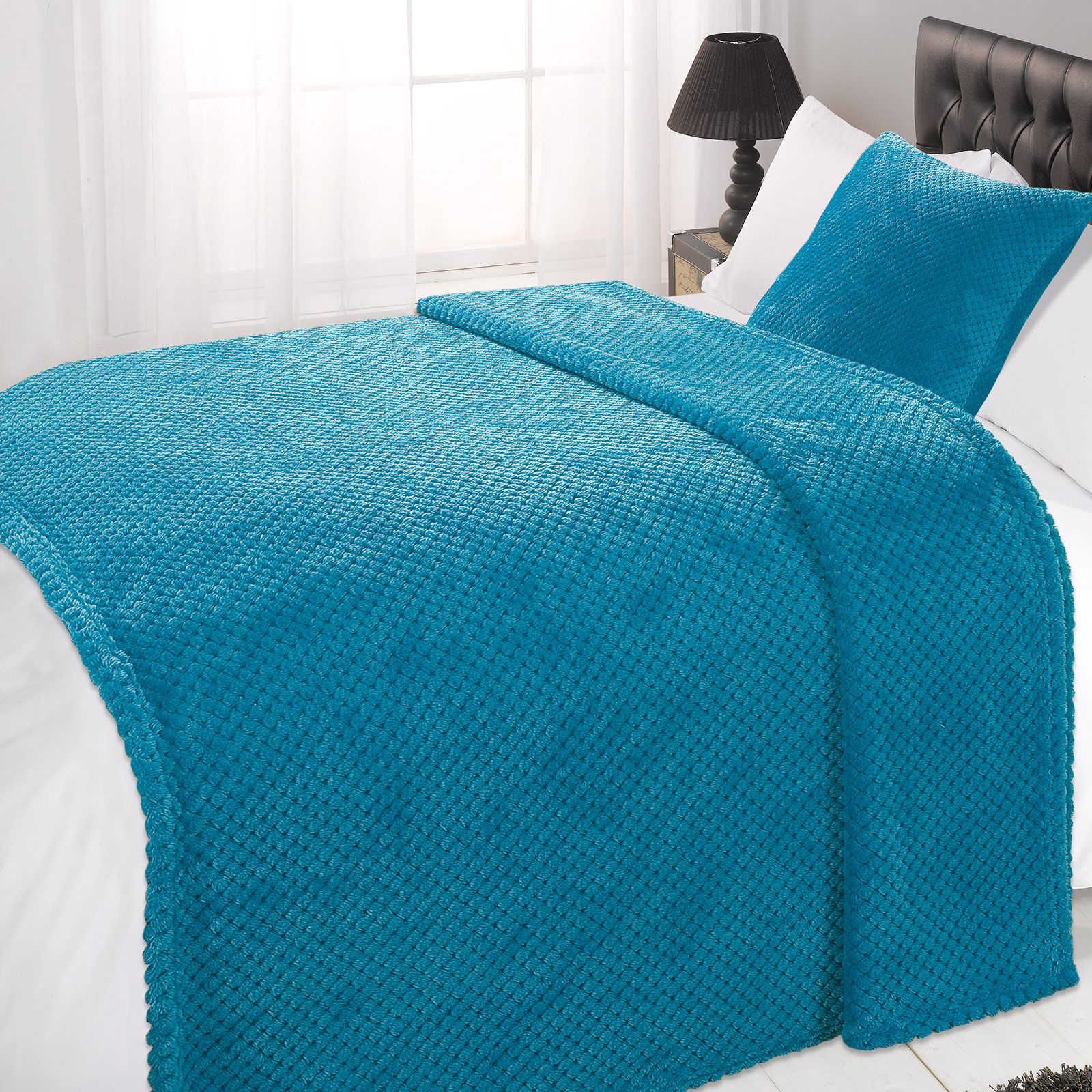 Dreamscene-Large-Waffle-Throw-Over-Warm-Mink-Honeycomb-Bedspread-Luxury-Blanket