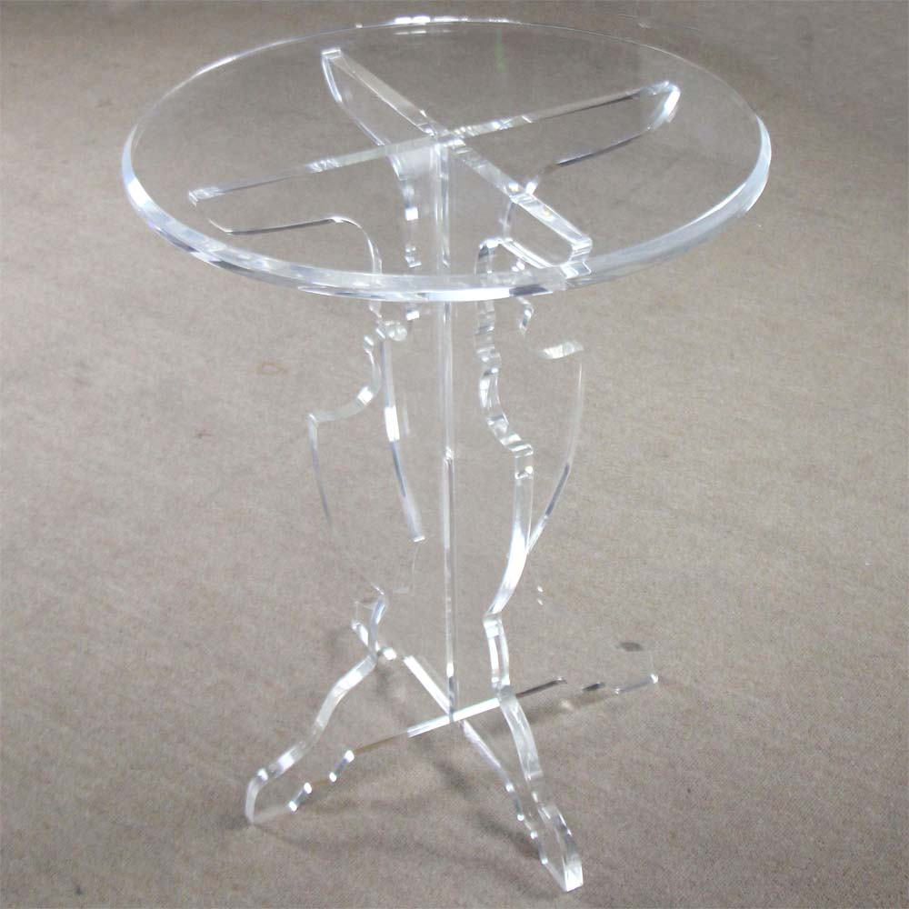 Acrylic Perspex Clear Round Coffee End Table Glass Effect