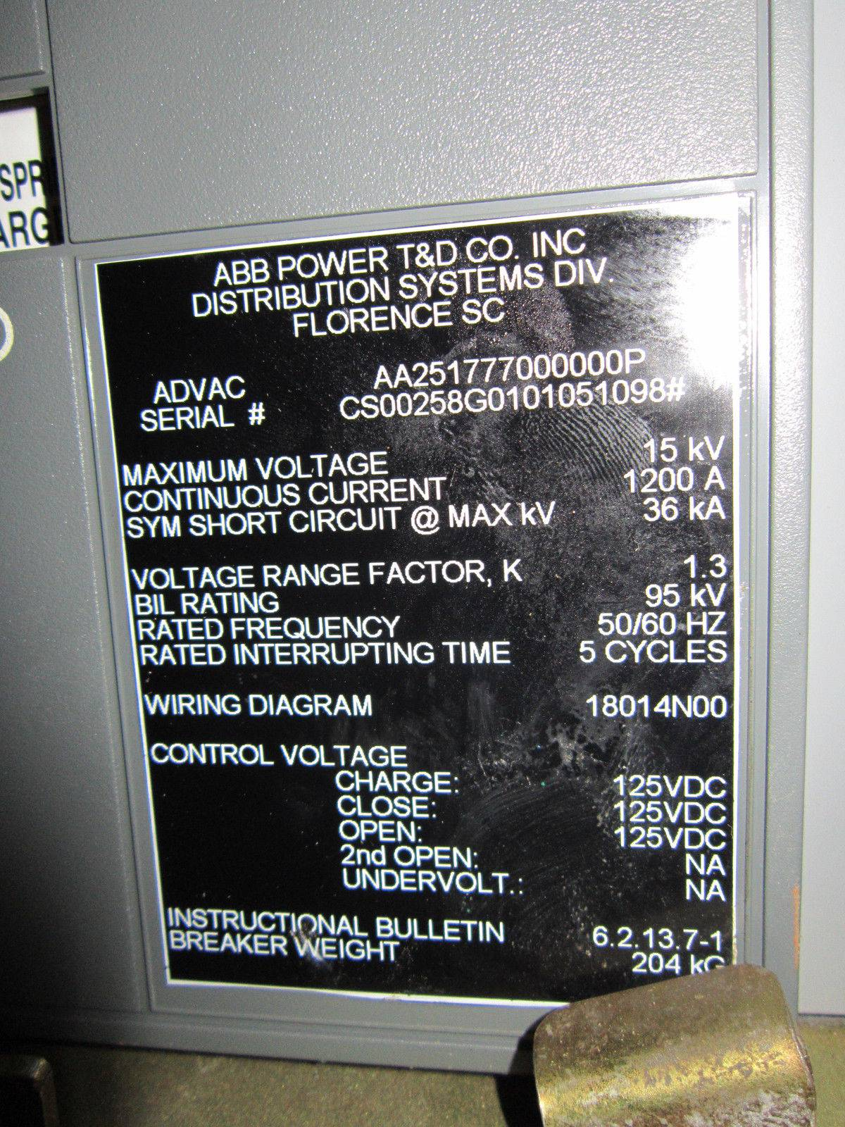 Abb Advac 15kv 1200a Aa251777000000p Vacuum Circuit Breaker 5cyc 15 Air Wiring Diagram Kv 1200 Amp Ebi0075 7 River City Industrial