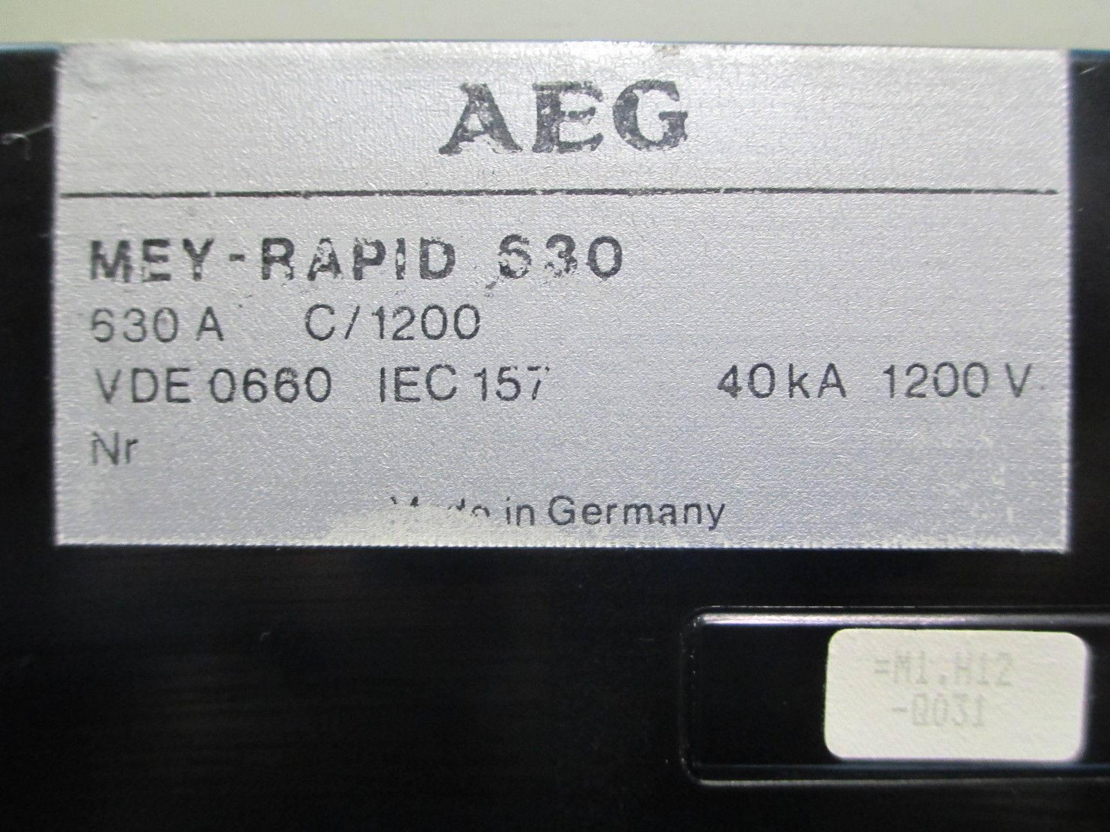 AEG MEY-RAPID 630 Amp DC Contactor Breaker IEC157 40 kA 1200V 600 ...