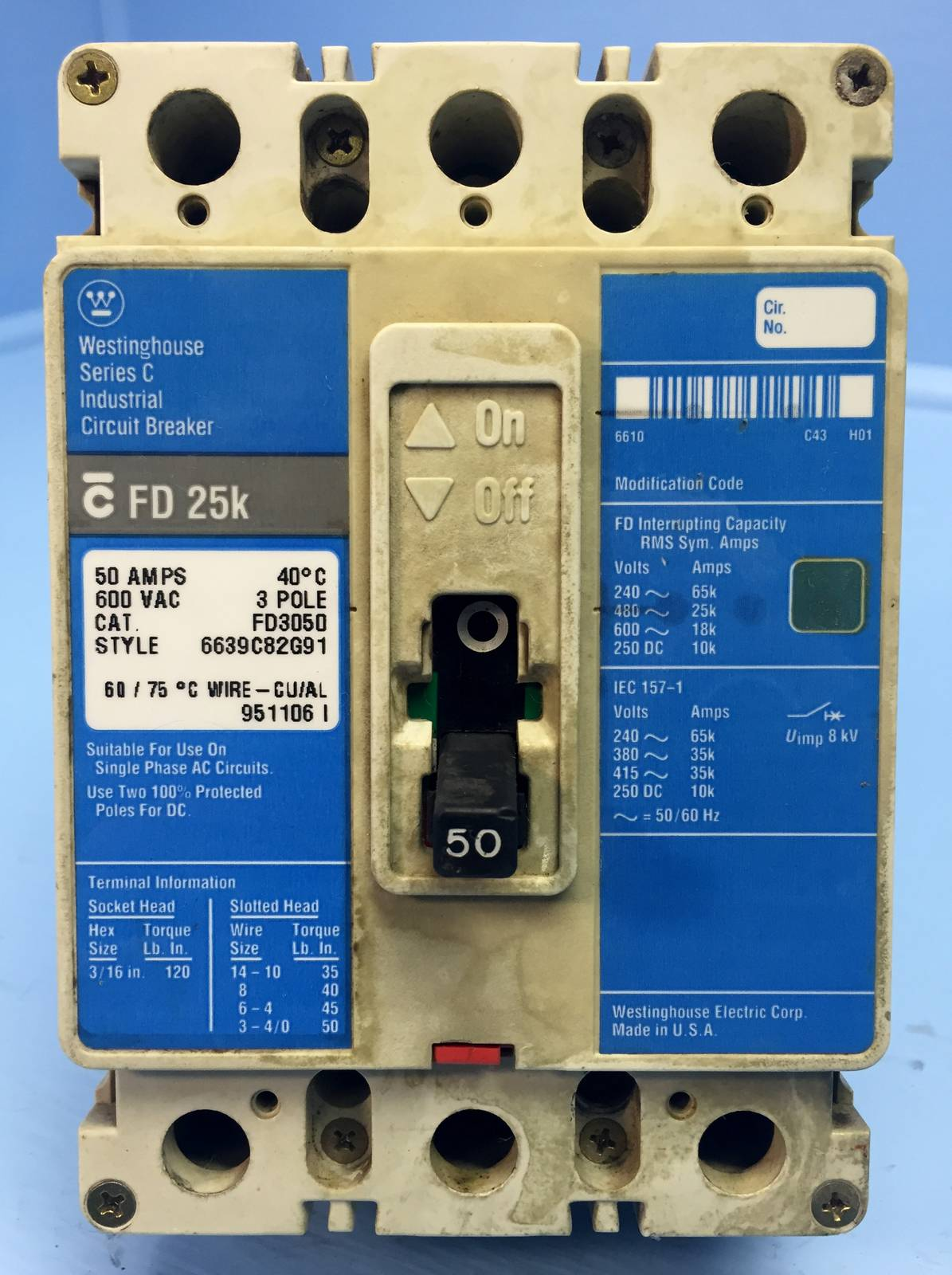 Cutler Hammer Fd3050 Circuit Breaker Type Fd 35k 3 Pole 50 Amp 600 Afci Fact Sheet The Is An Arc Fault Interrupter Volt Ebay