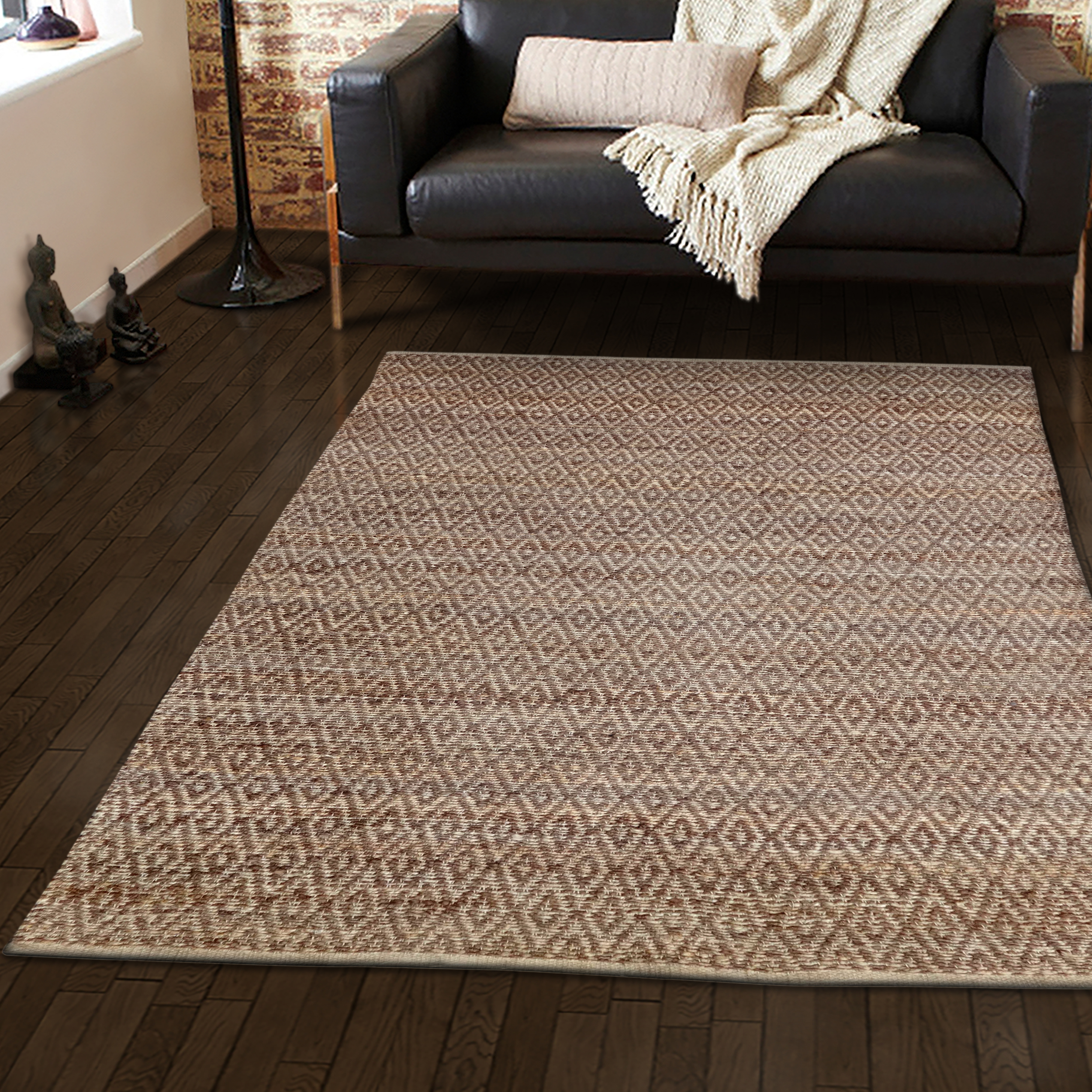 Natural Eco Friendly Hand Woven Jute Area Rug, 4 Colors